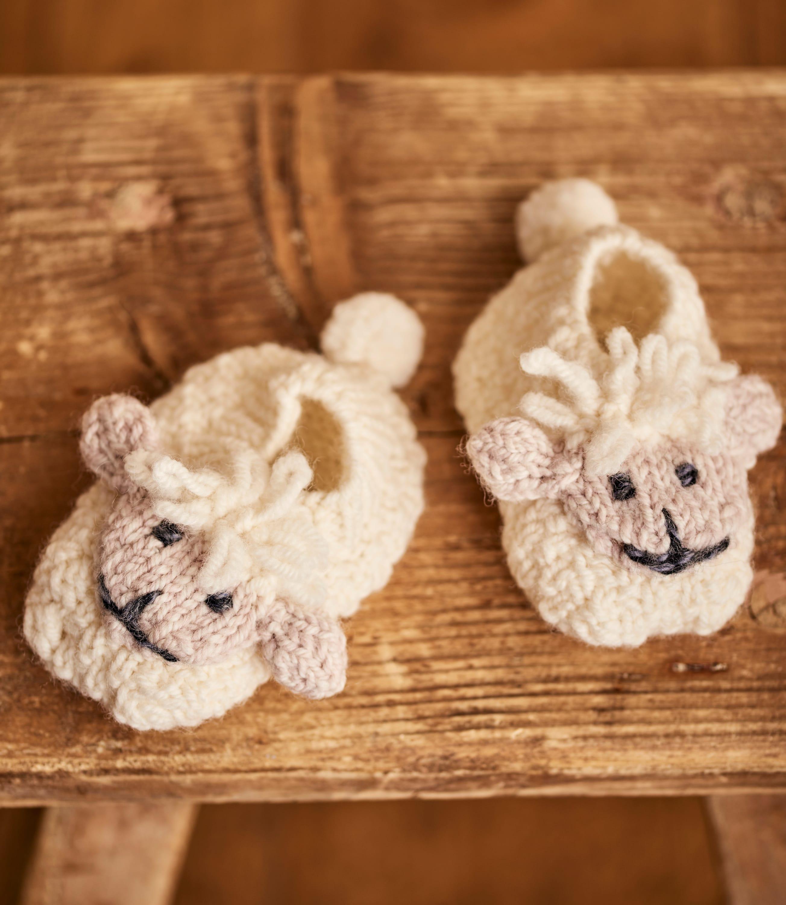 Hand Knit Merino Sheep Booties