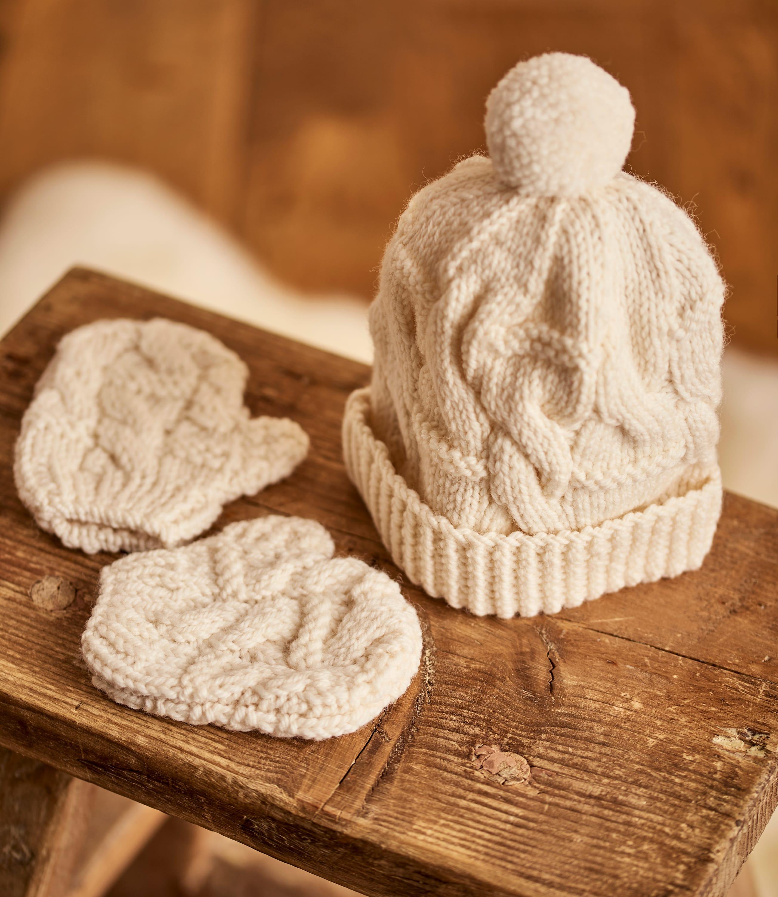 Hand Knit Merino Hat & Mittens