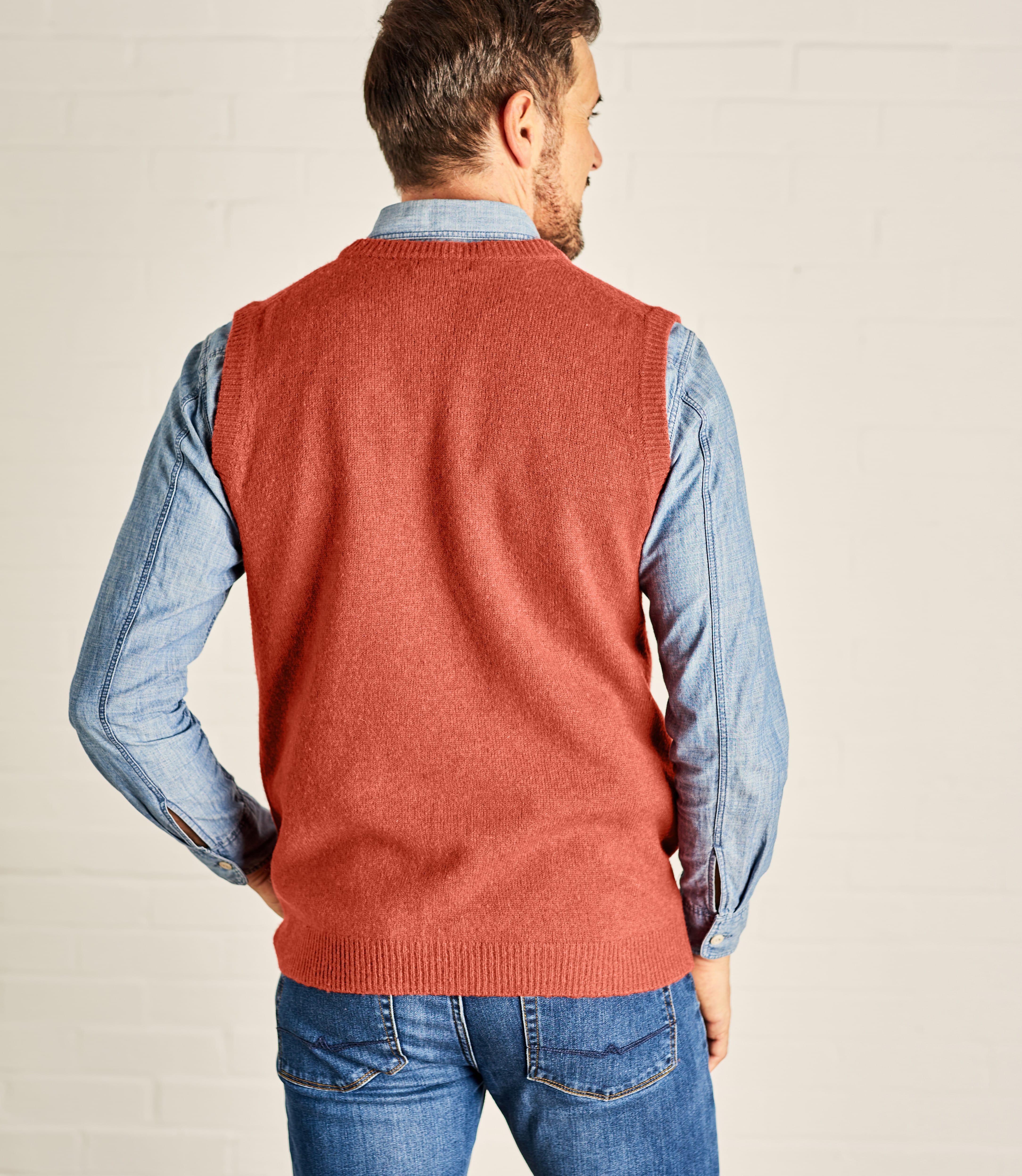 Mens Lambswool Knitted Slipover