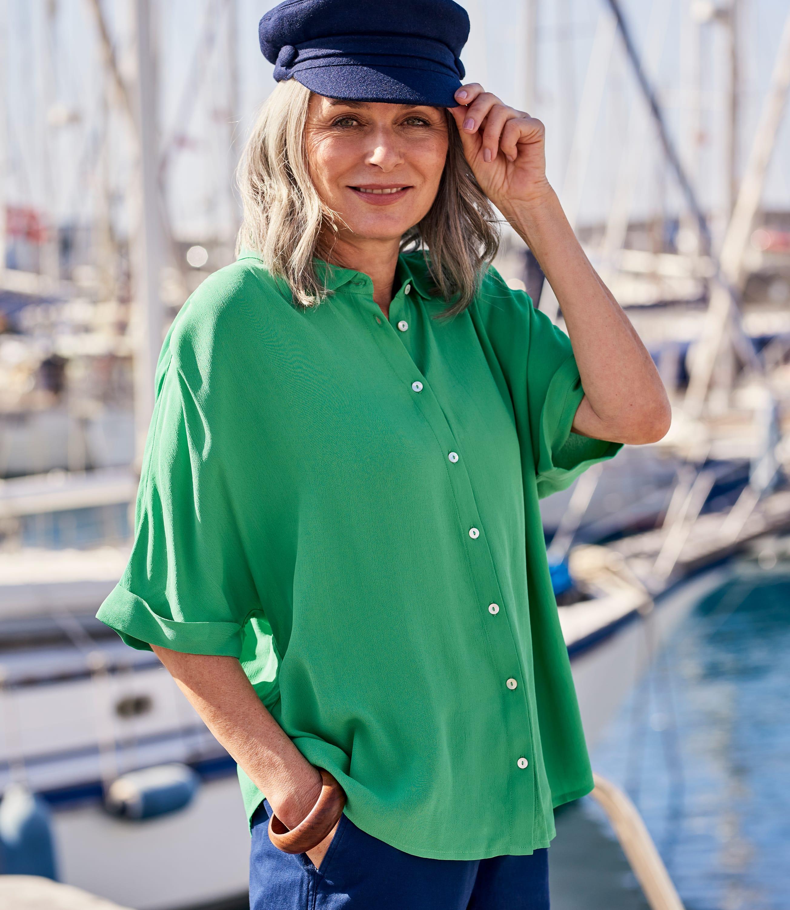 Womens Button Through Boxy Shirt
