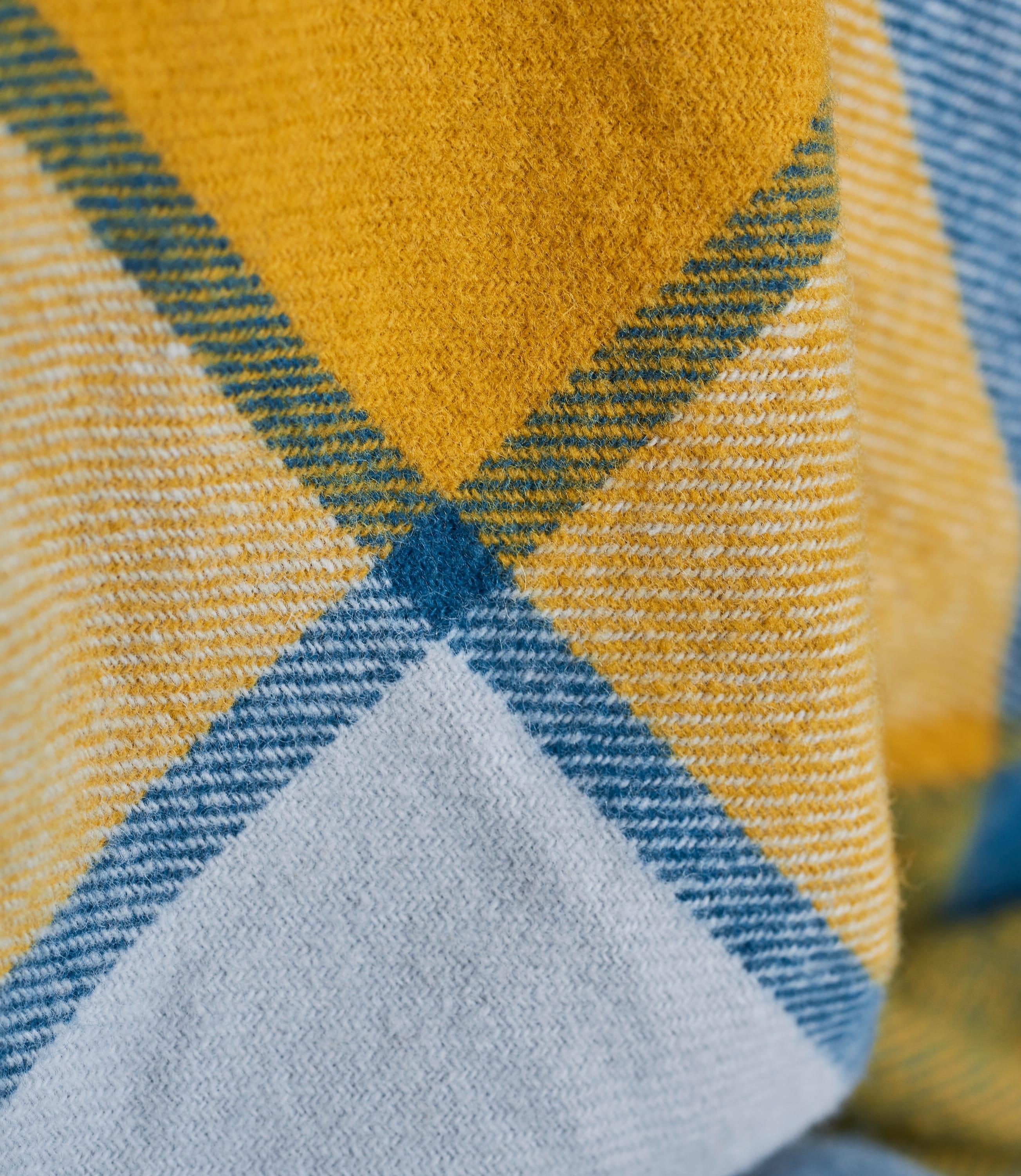 Pure New Wool Block Check Throw
