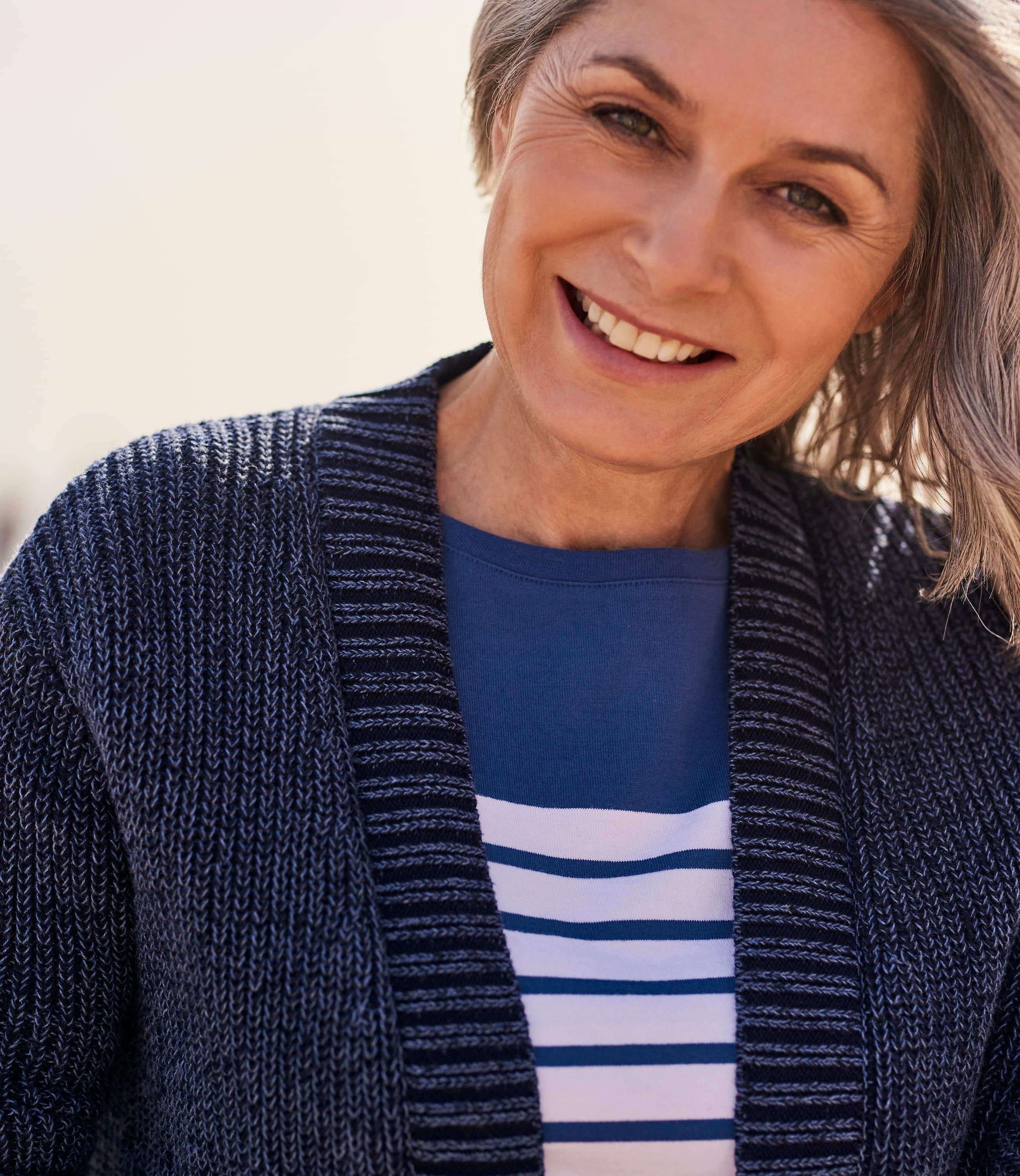 Cardigan ouvert détail pointelle - Femme - Pur Coton