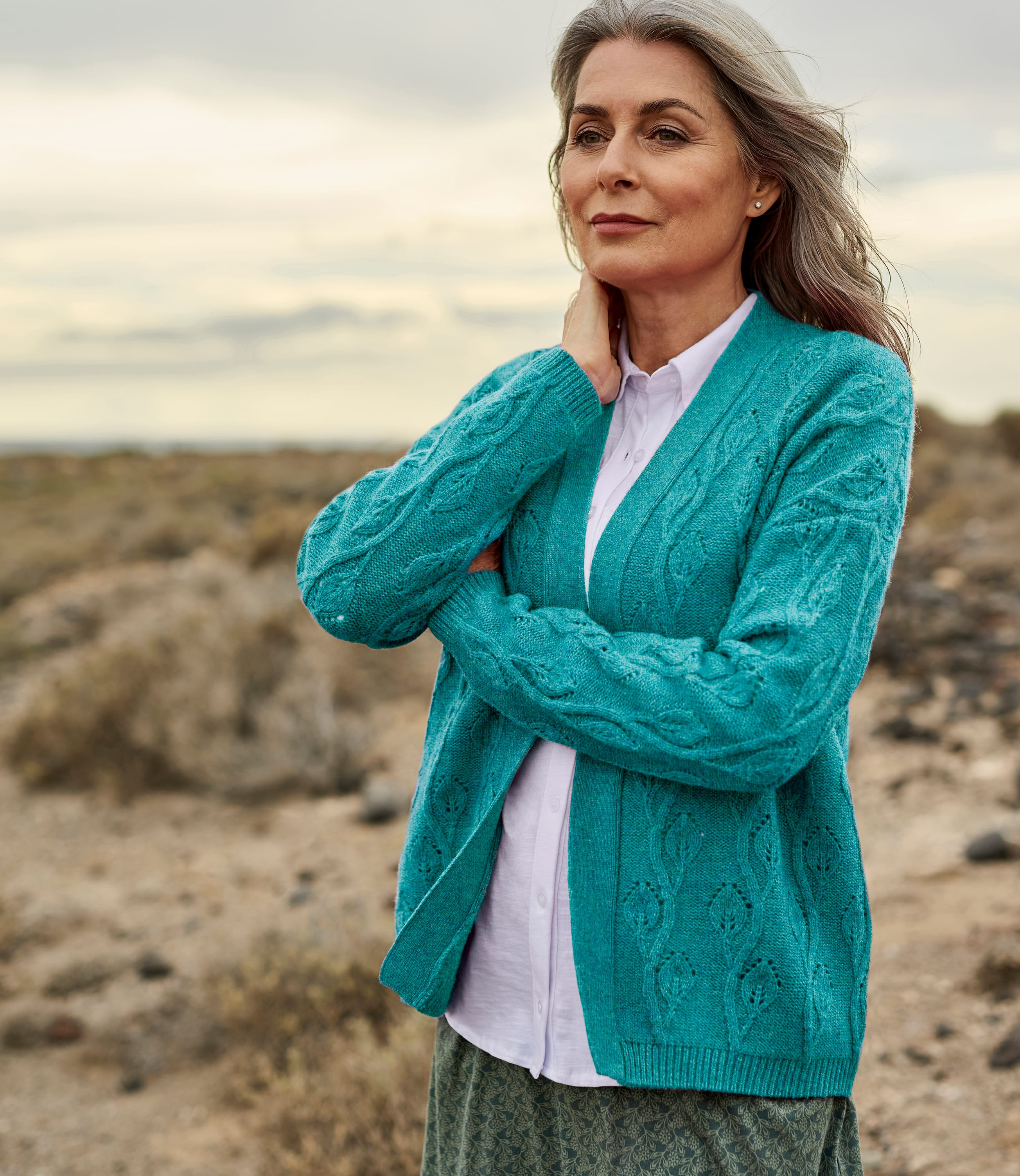 Womens Lambswool Leaf Pointelle Open Cardigan