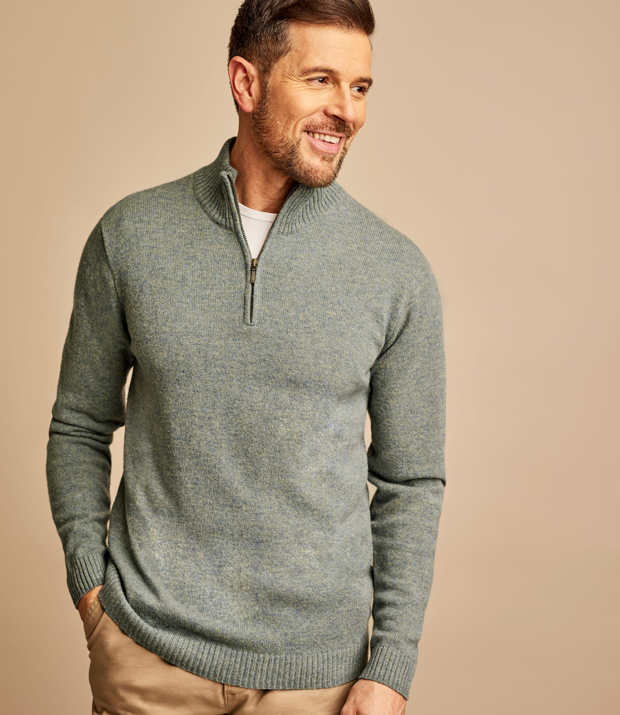 Pure Lambswool Zip Neck Jumper