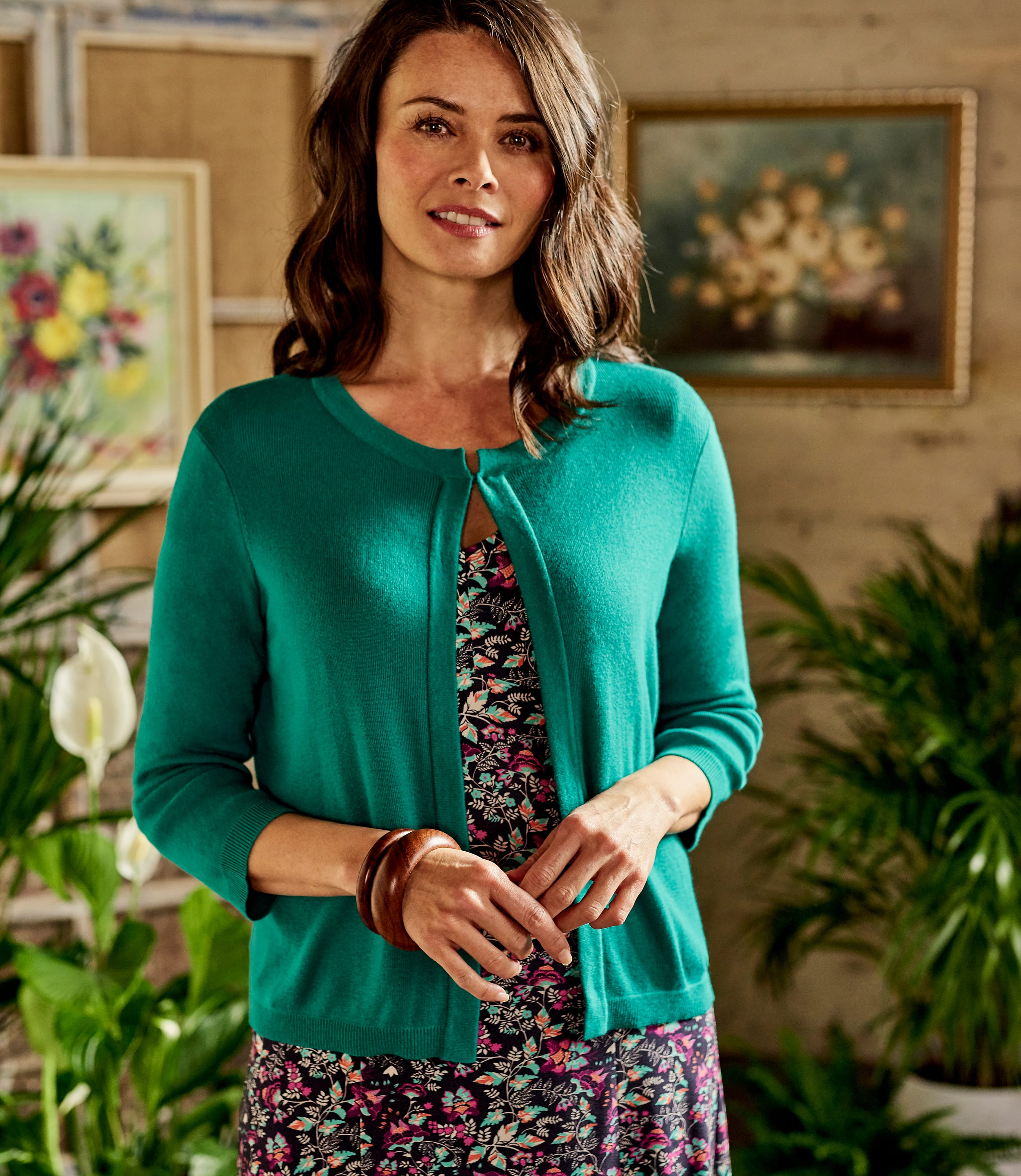 Womens Cotton Blend 3/4 Sleeve Cover Up With Hook And Eye