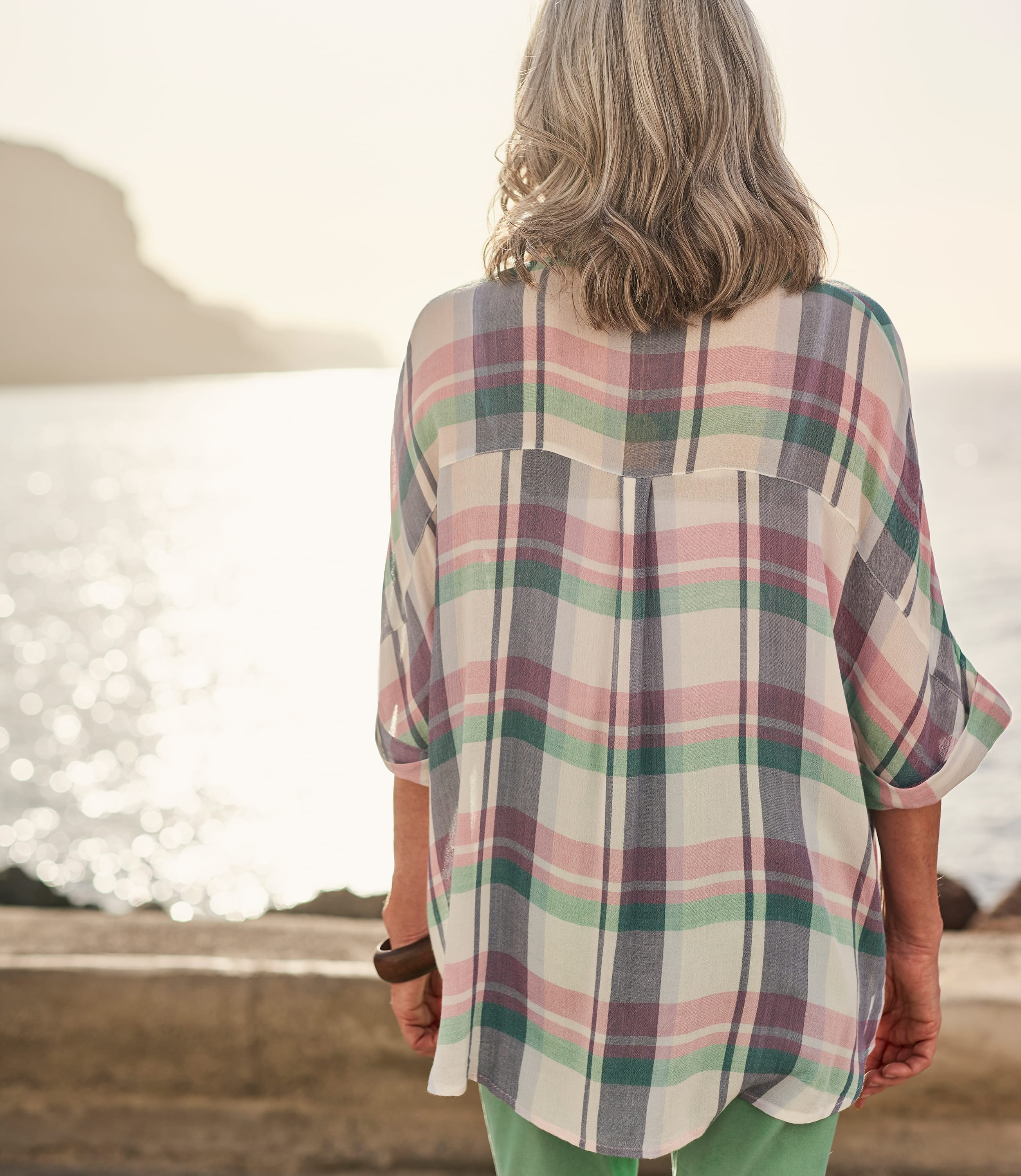 Womens Button Through Check Boxy Shirt