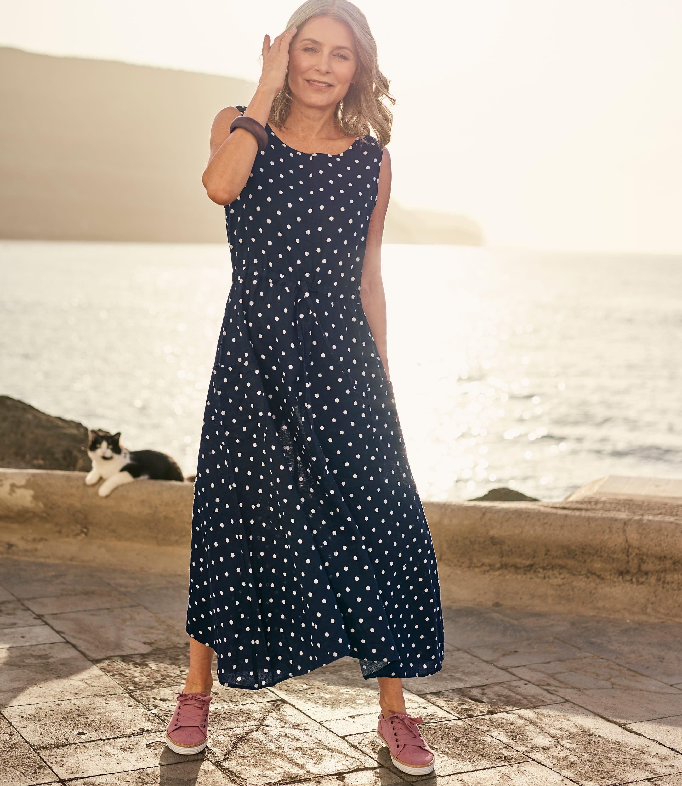 Womens Linen Pocket Tie Waist Dress