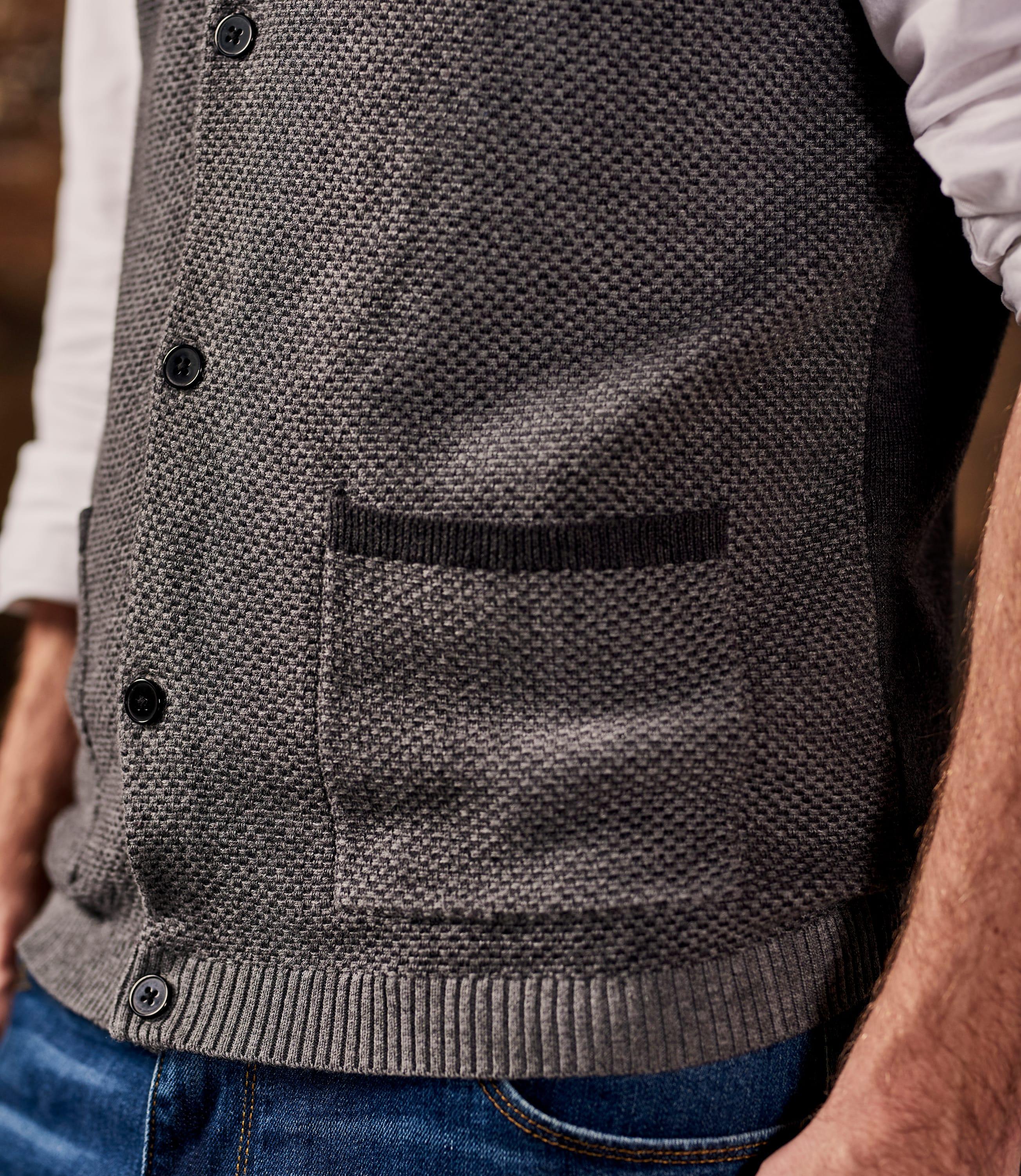 Mens Cashmere Cotton Textured Waistcoat