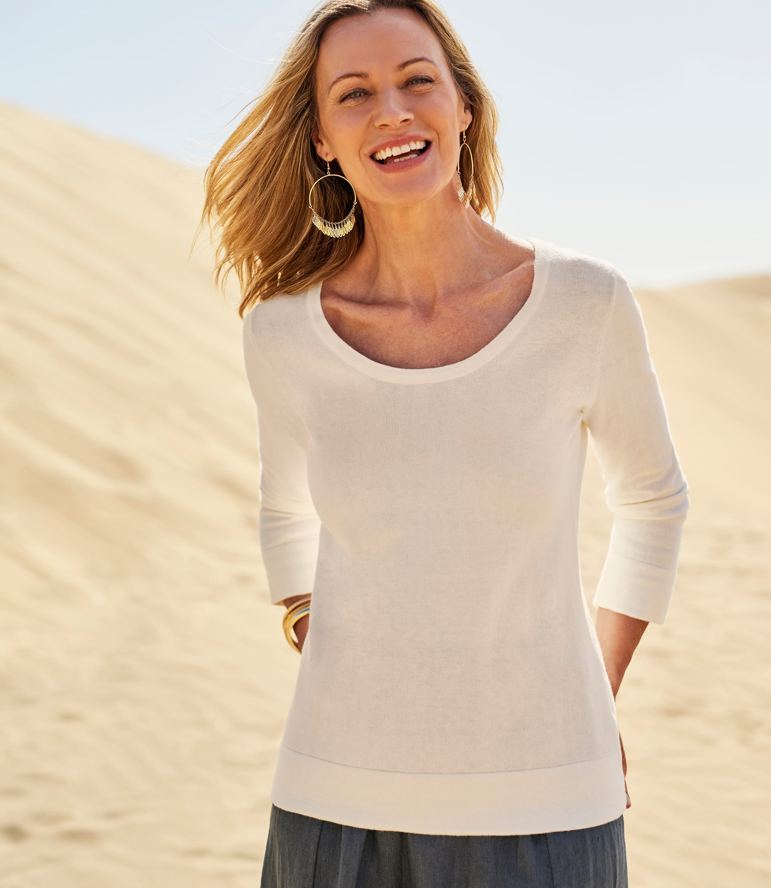 Womens Cotton Cashmere Fitted Scoop Neck Jumper