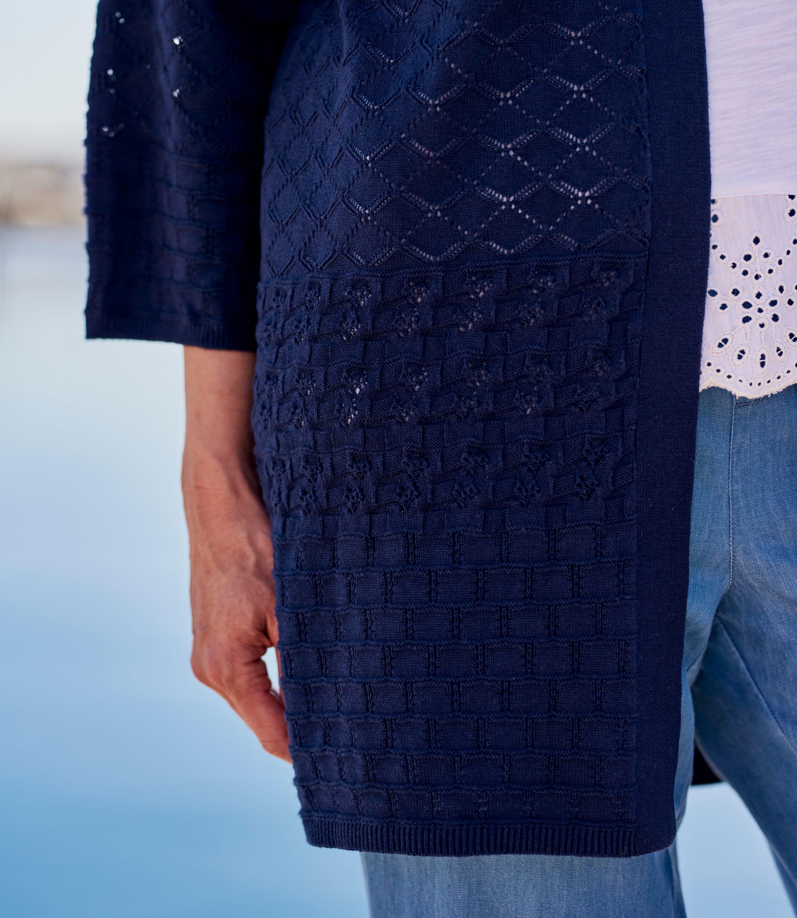 Womens 100% Cotton Crochet Cardigan