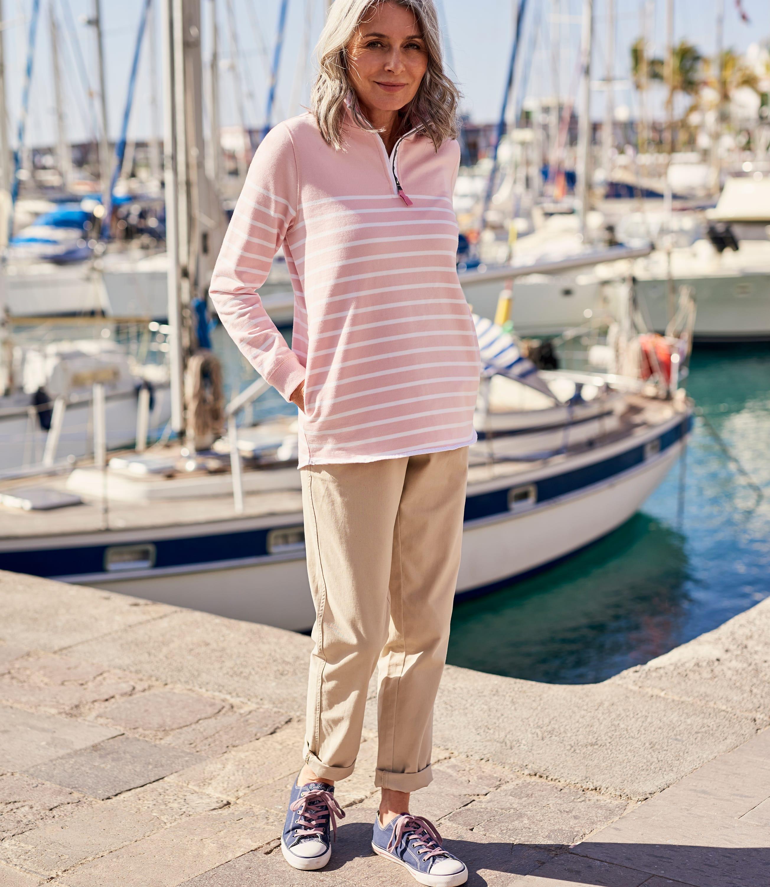 Womens Cotton Half Zip Sweatshirt
