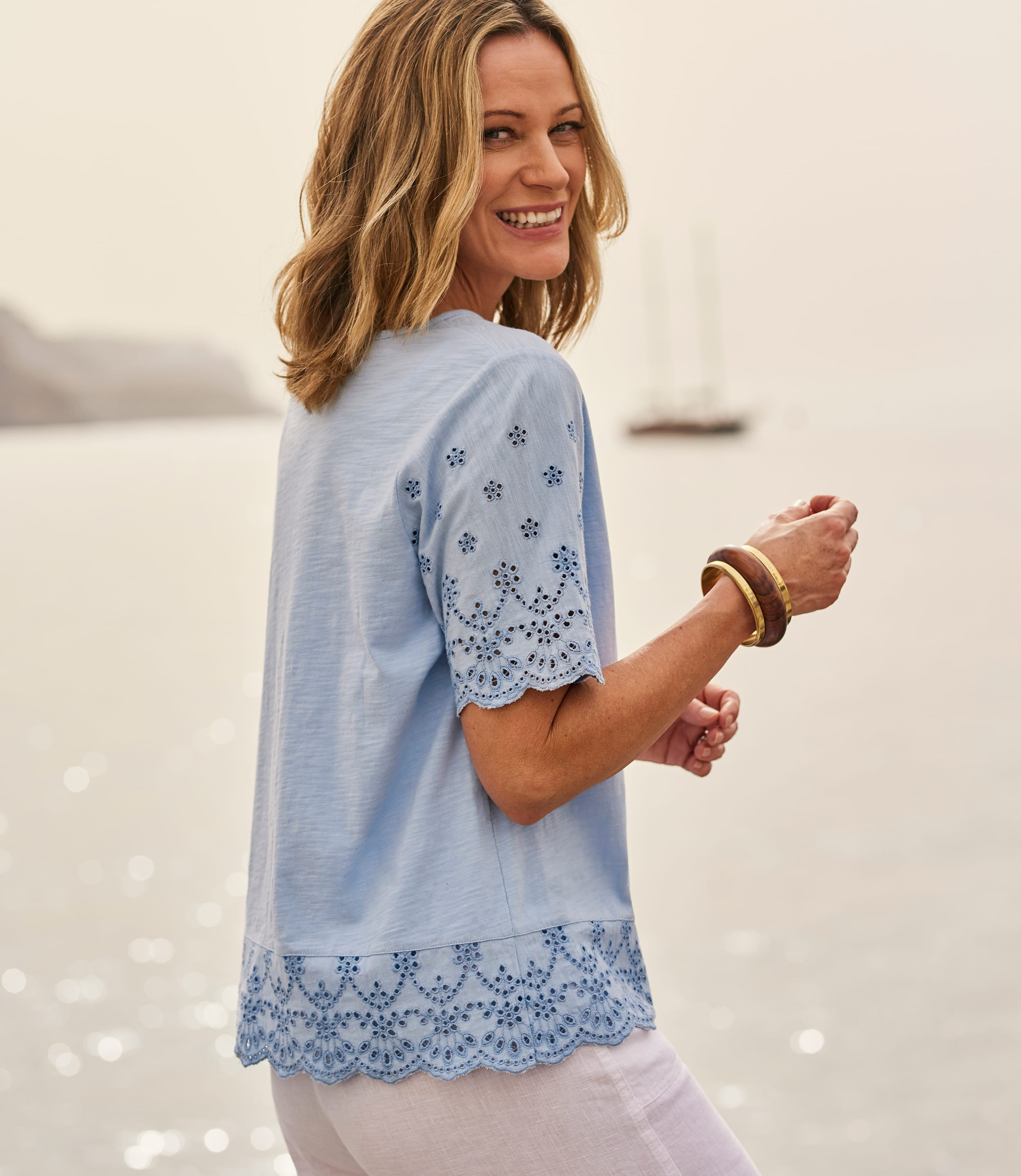 Womens Embroidered Panel T-Shirt