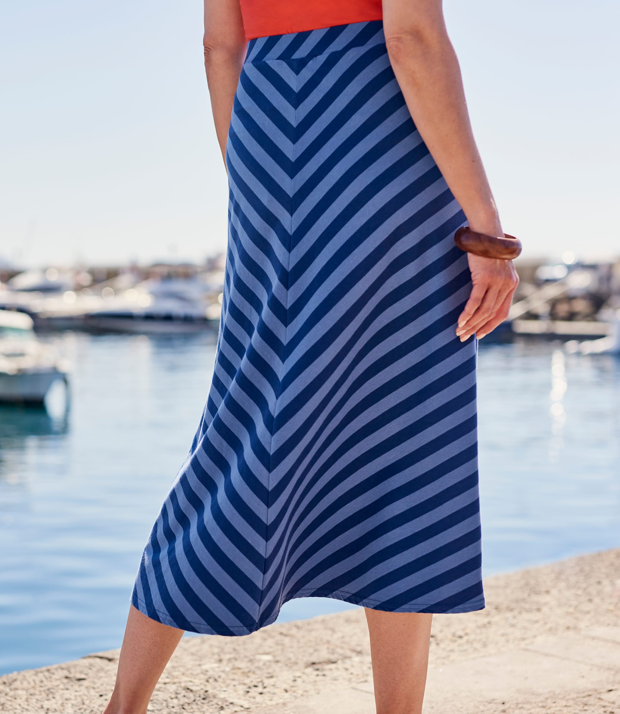 Womens Diagonal Stripe Skirt