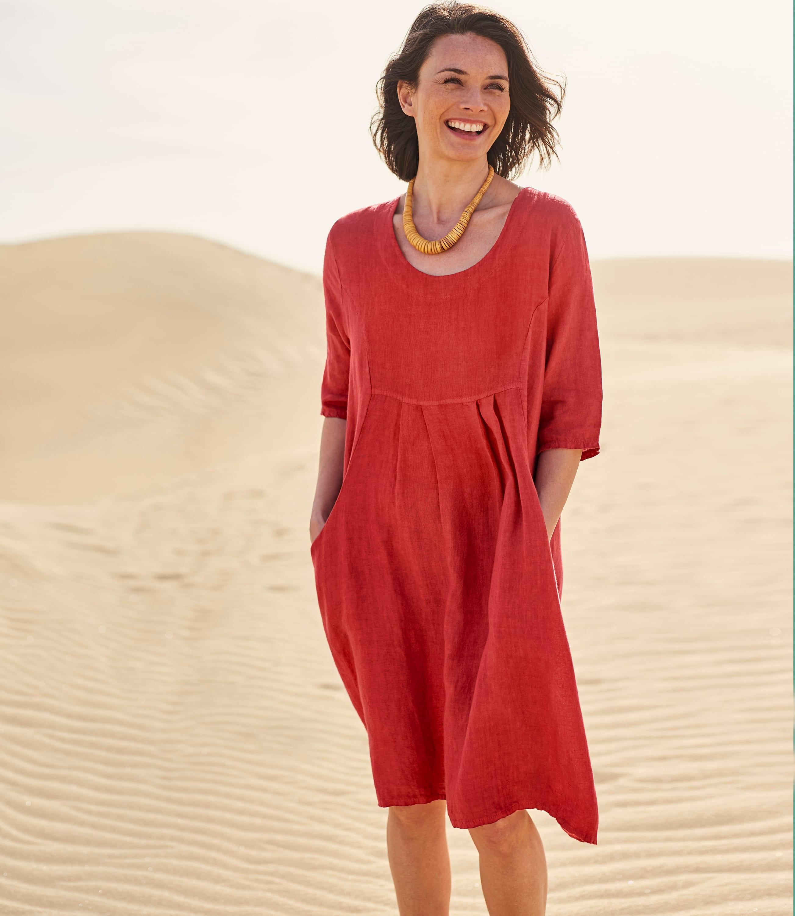 Robe-Tunique à poches - Femme - Pur Lin