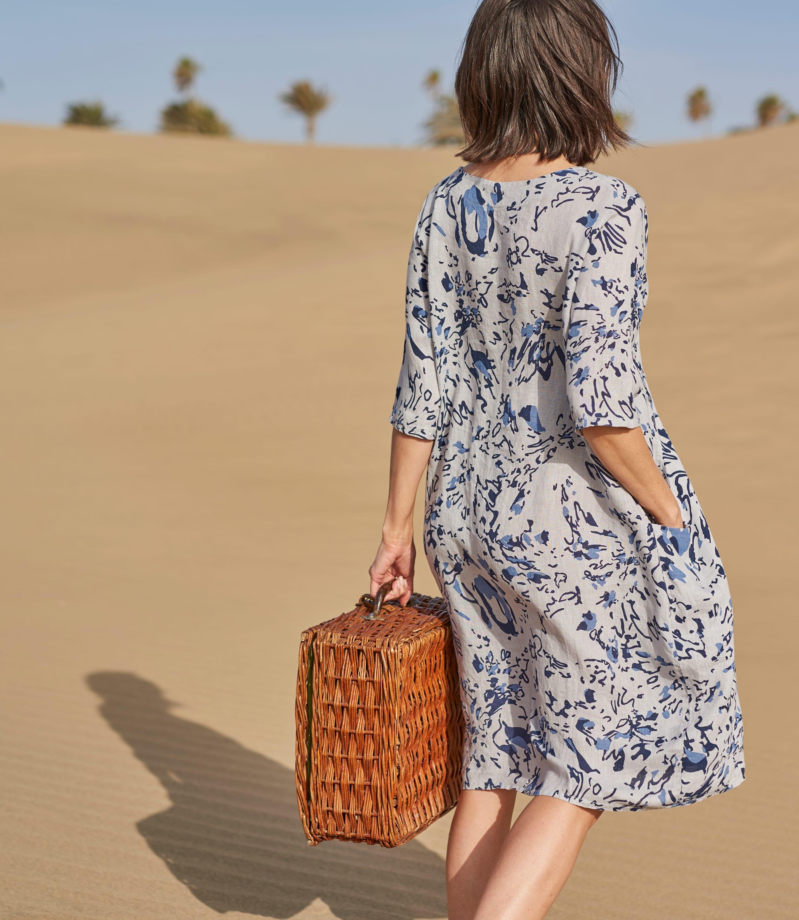 Womens Linen Pocket Tunic Dress