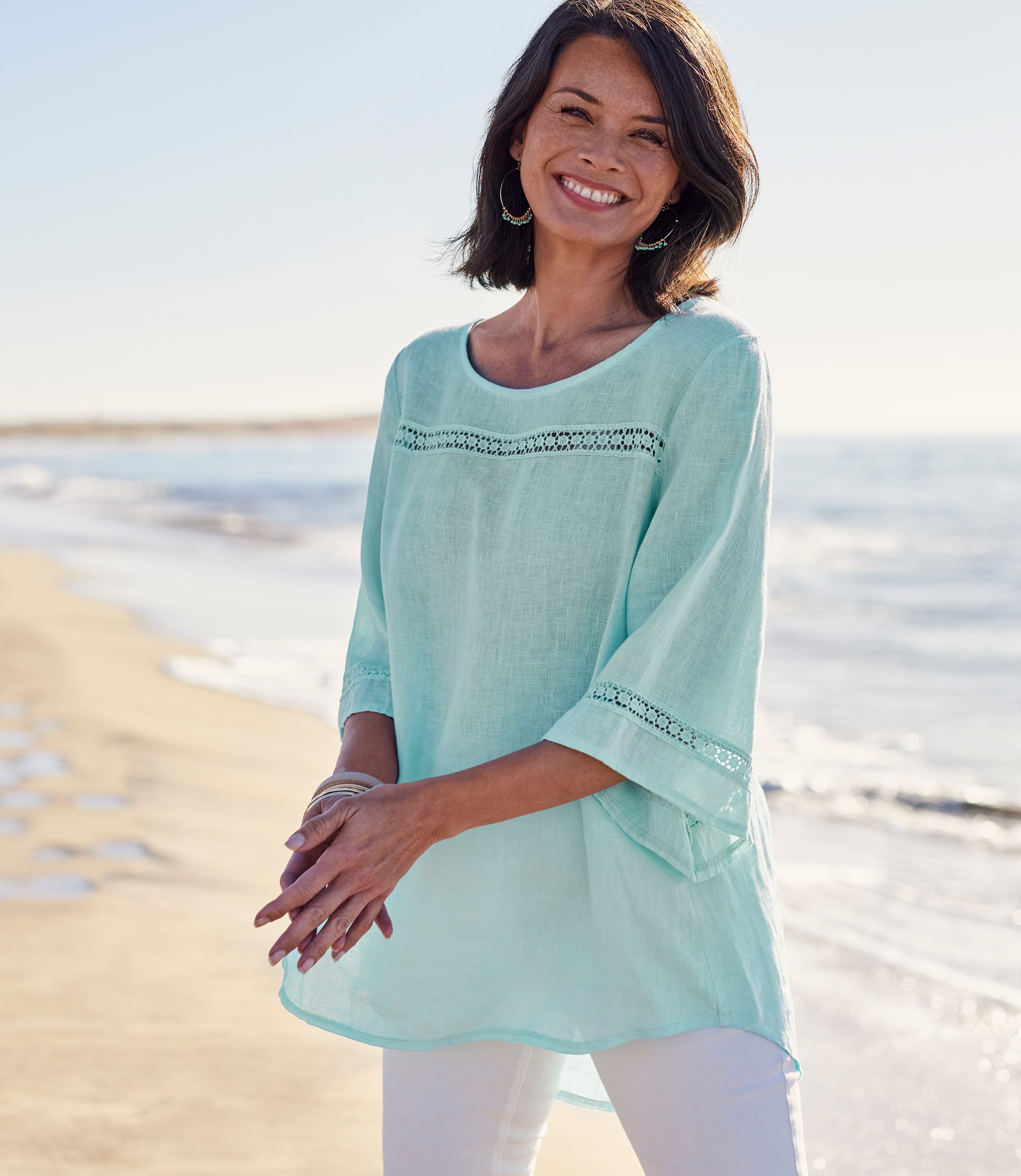 Womens Lace Insert Floaty Linen Top