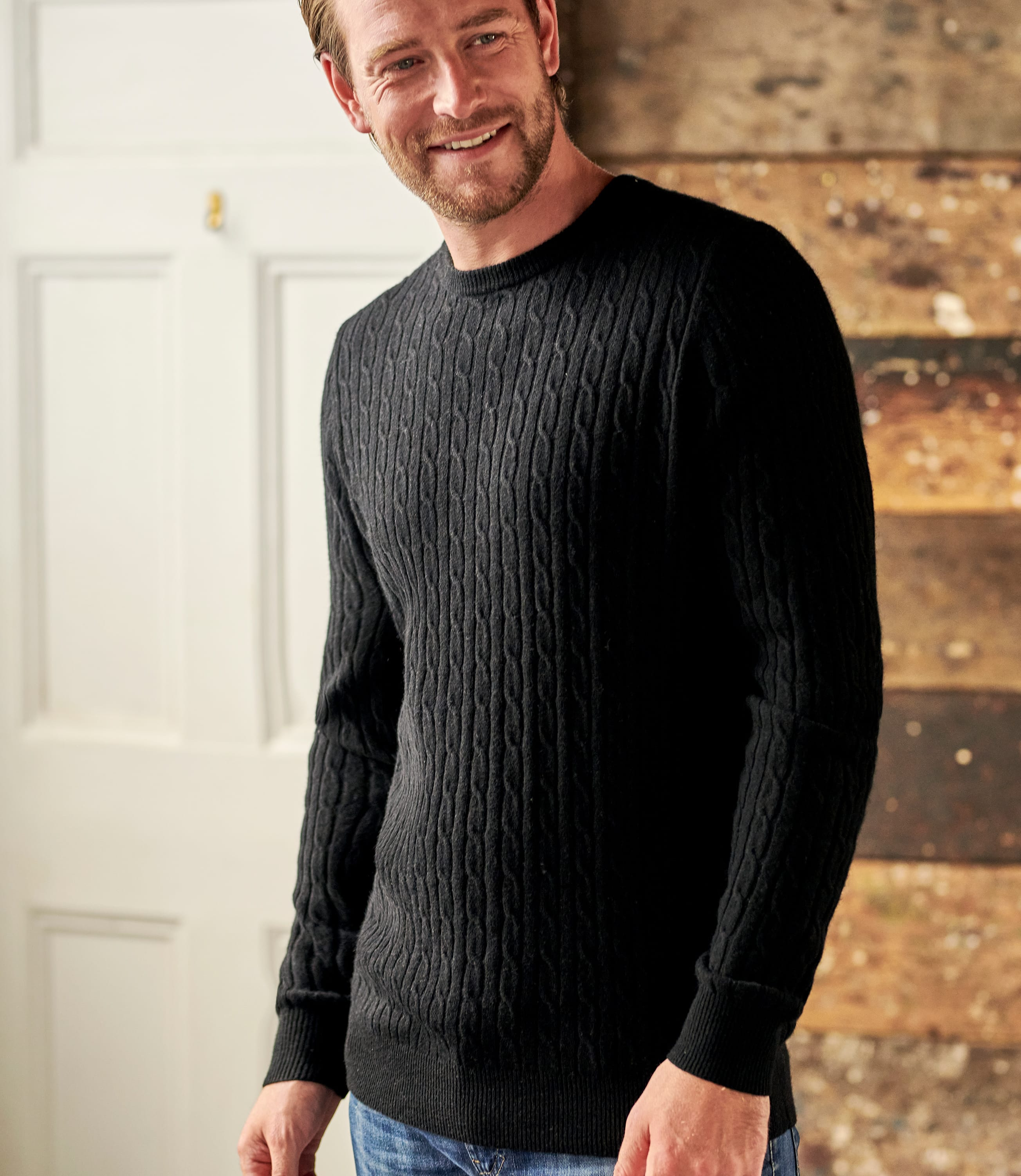 Cashmere and Merino Cable Jumper