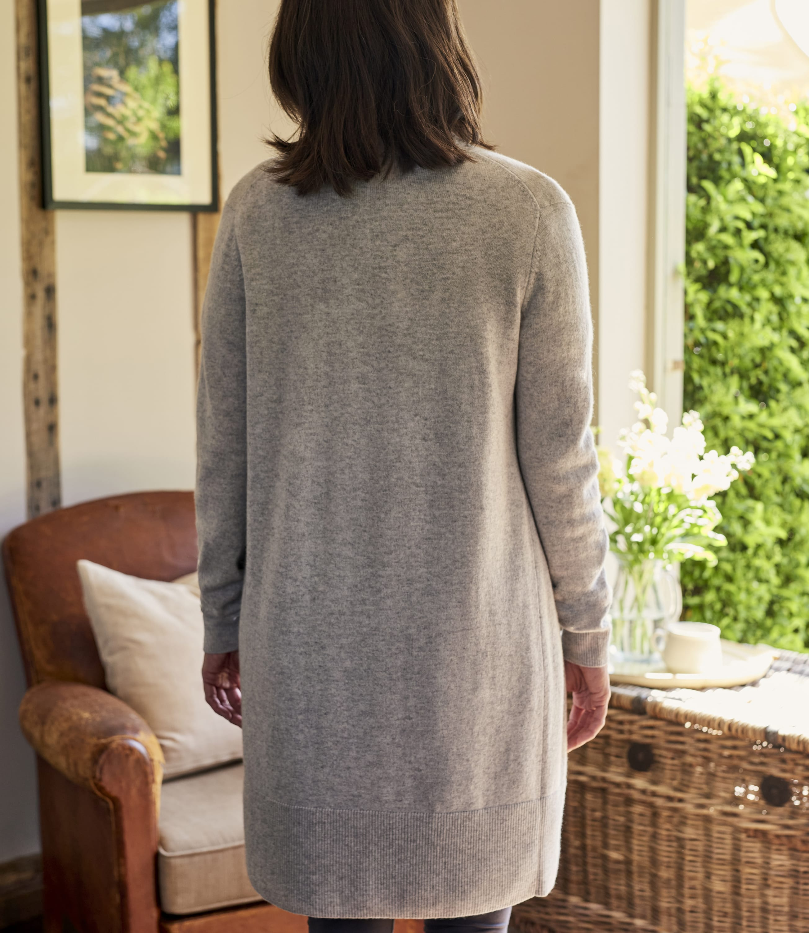 Cashmere and Merino Edge to Edge Long Cardigan