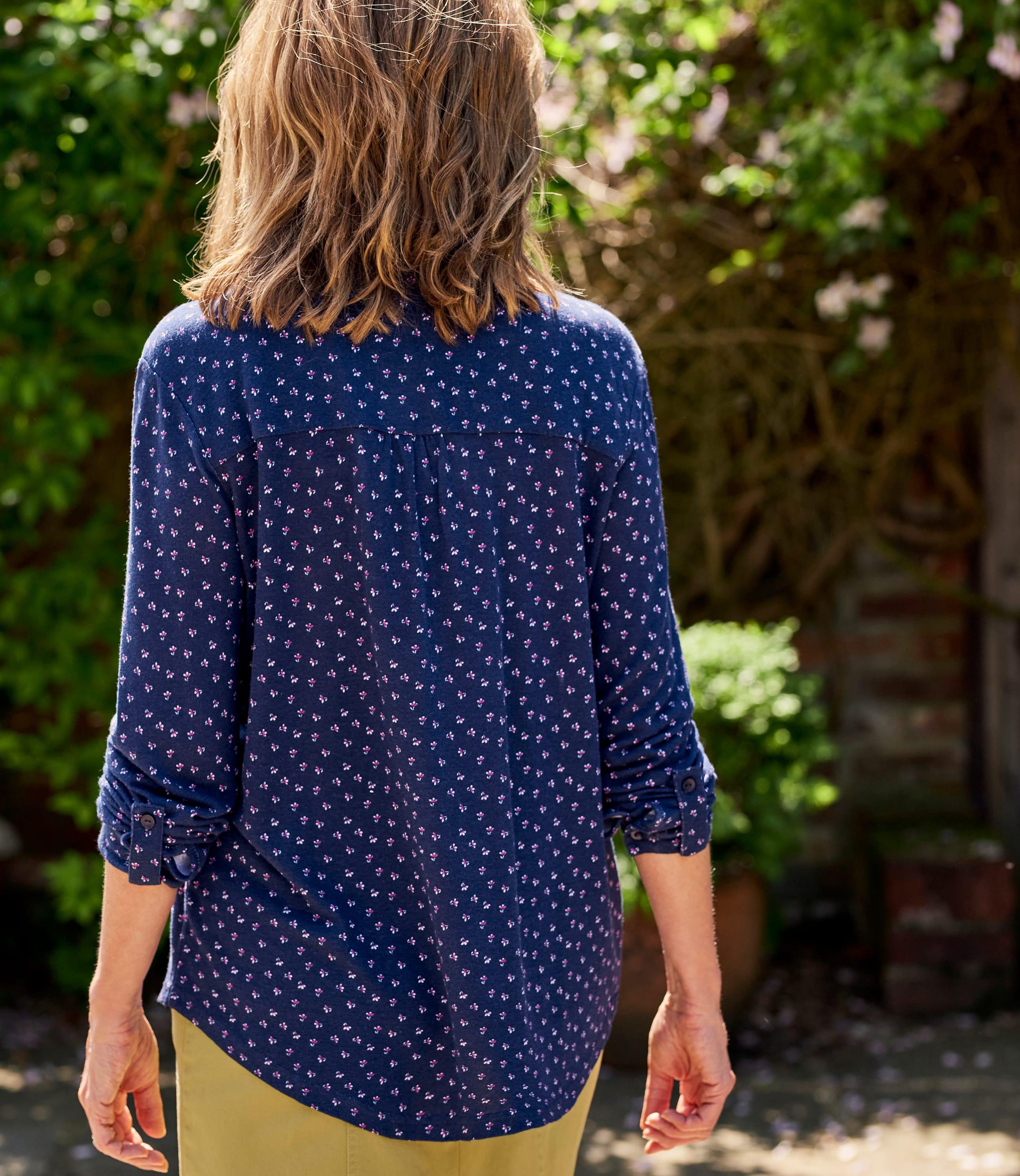 Chemise à col mao - Femme - Lin mélangé