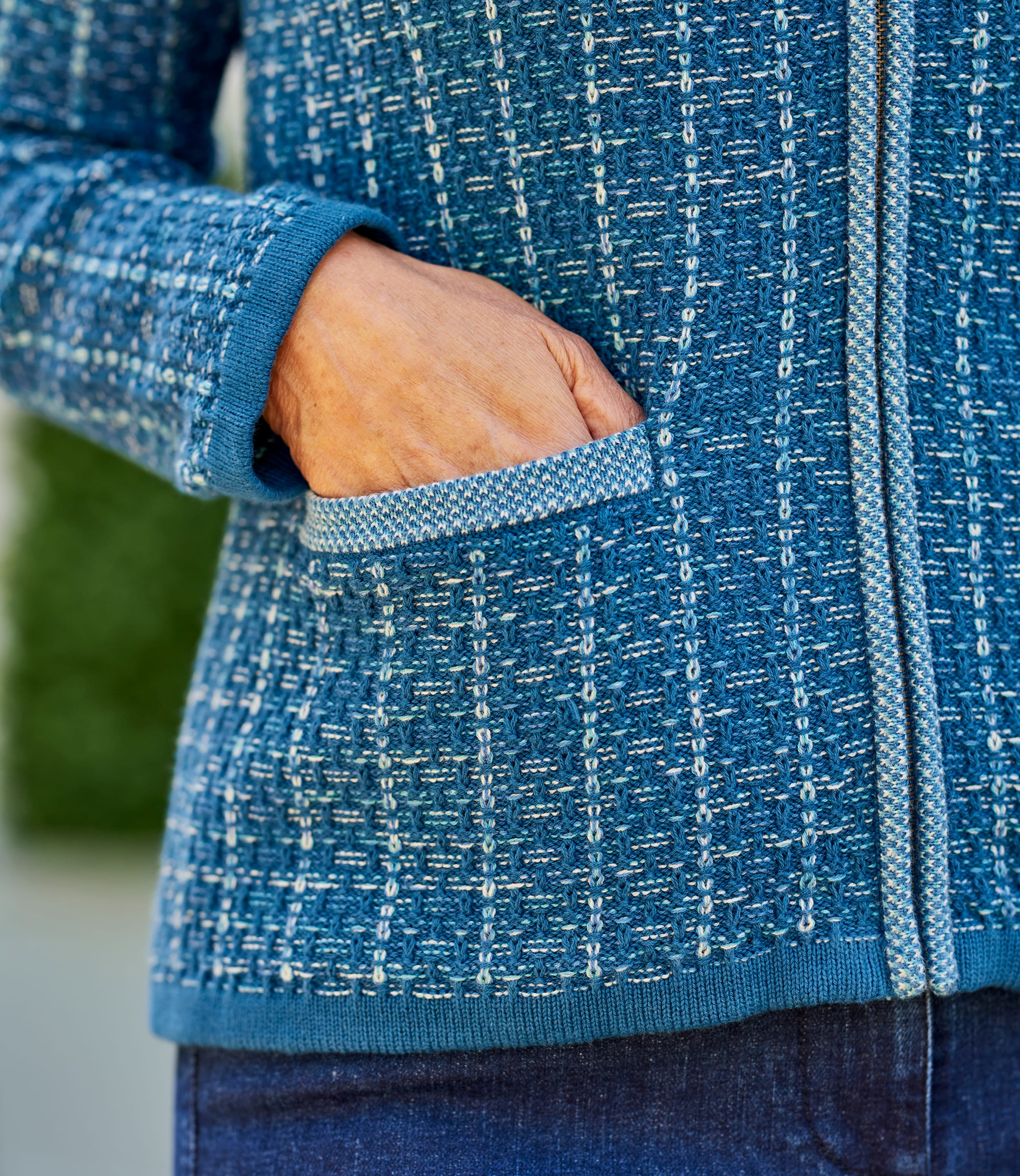 Womens 100% Cotton Textured Zip Up Cardigan