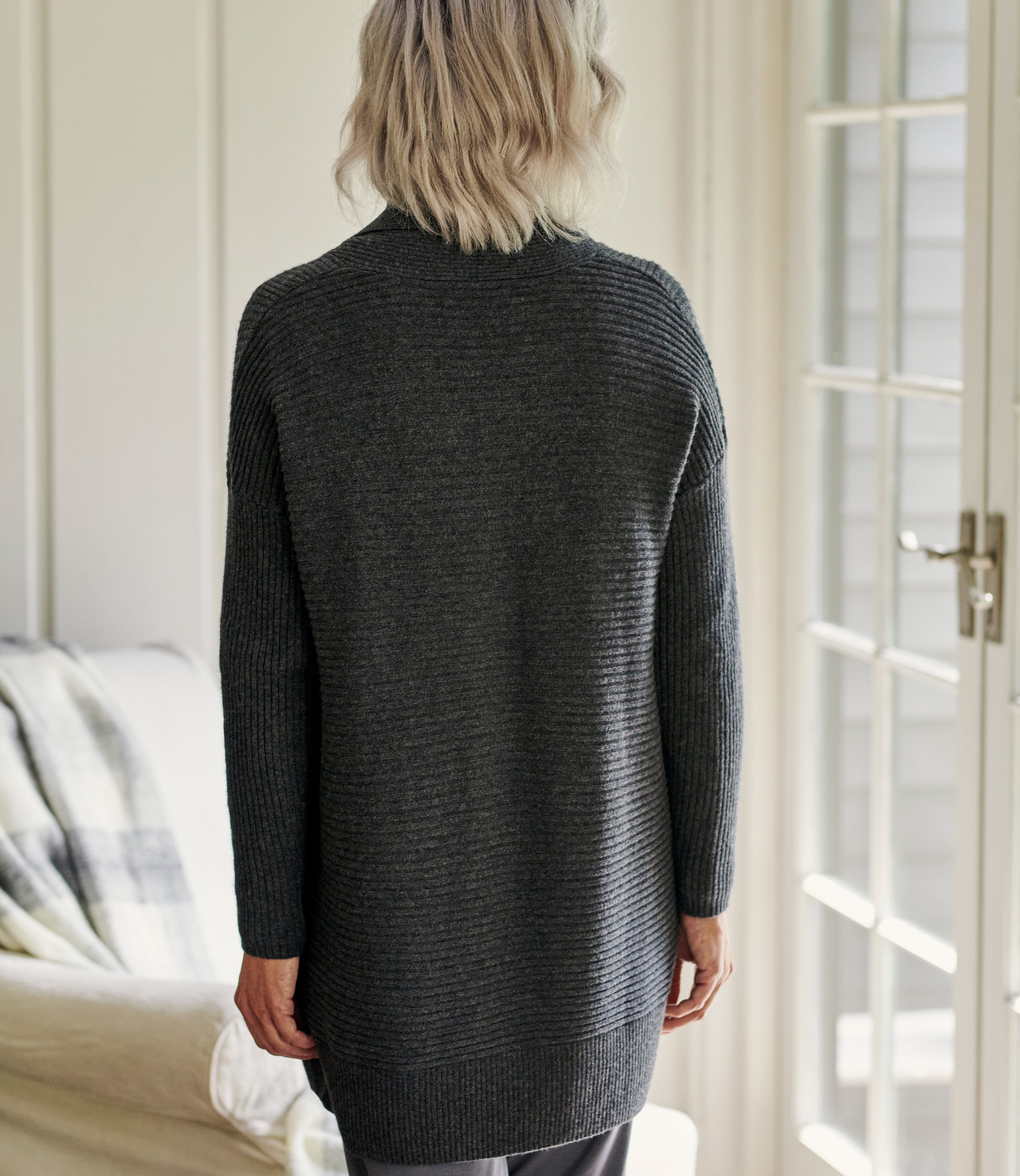 Cashmere Merino Ribbed Collar Cardigan