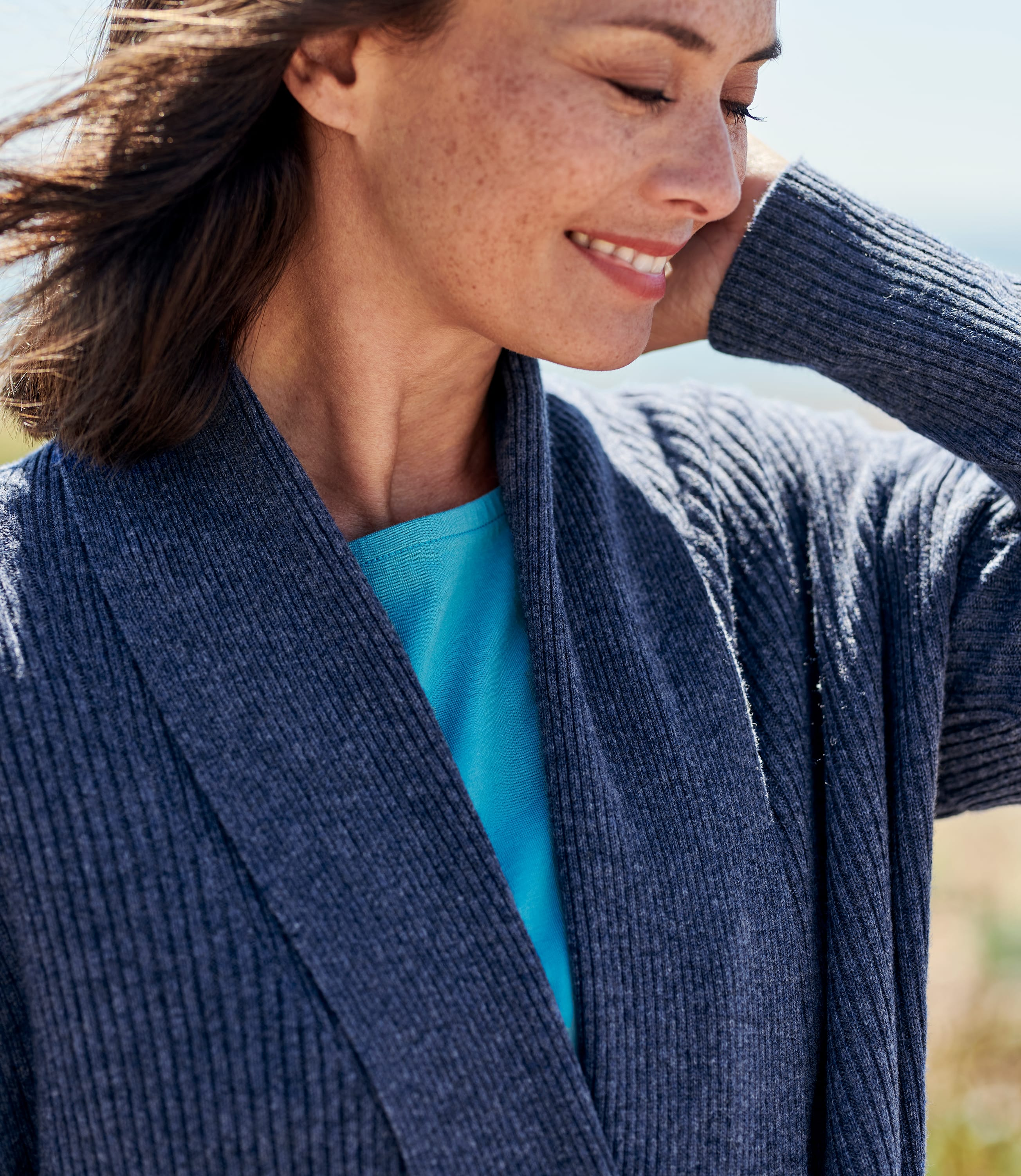 Womens Cashmere Merino Ribbed Collar Cardigan