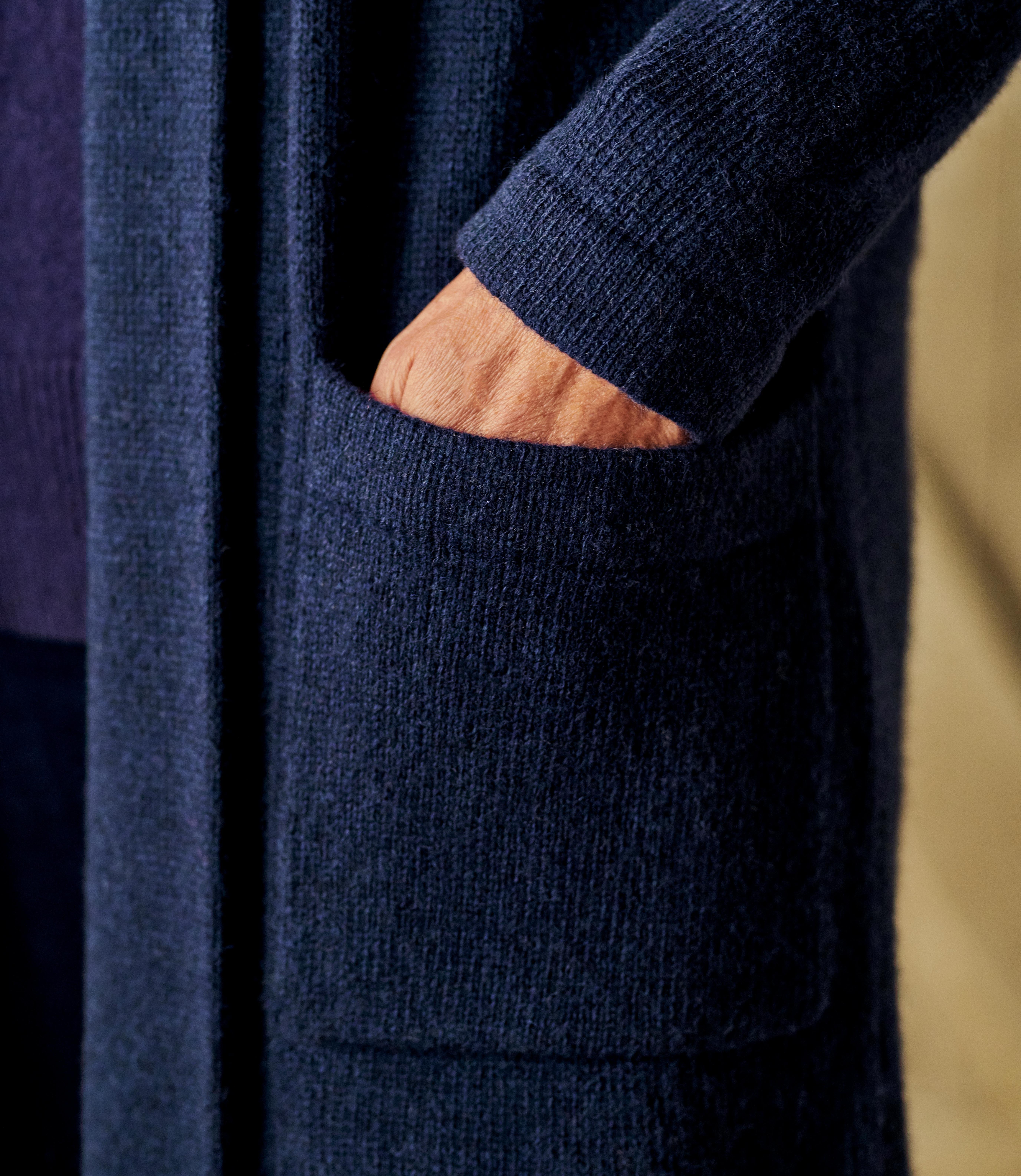 Womens 100% Lambswool Edge To Edge Coatigan With Pockets
