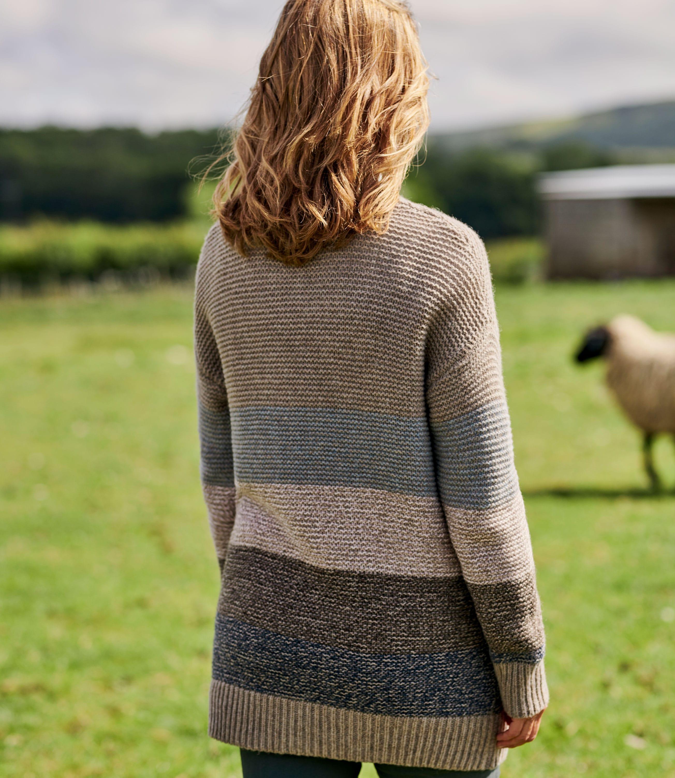 Cardigan colour block effet tweed - Femme - Pure Laine d'Agneau