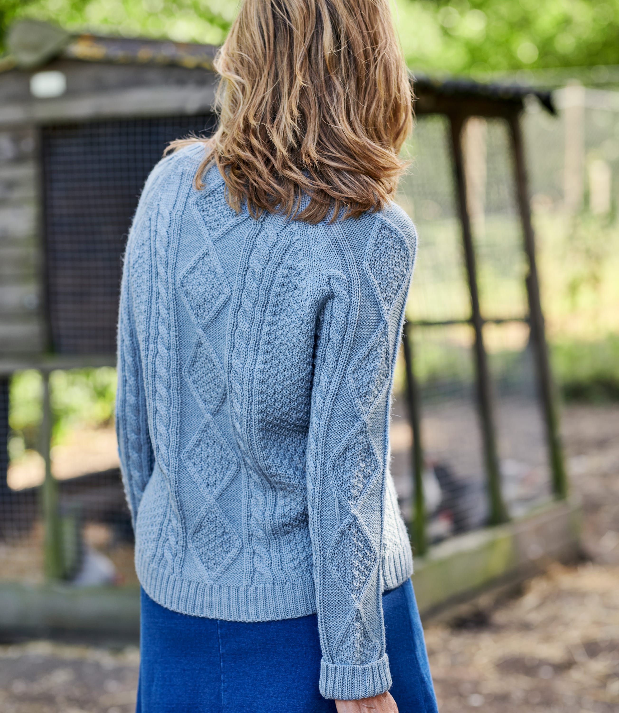 Womens Cable Button Cardigan