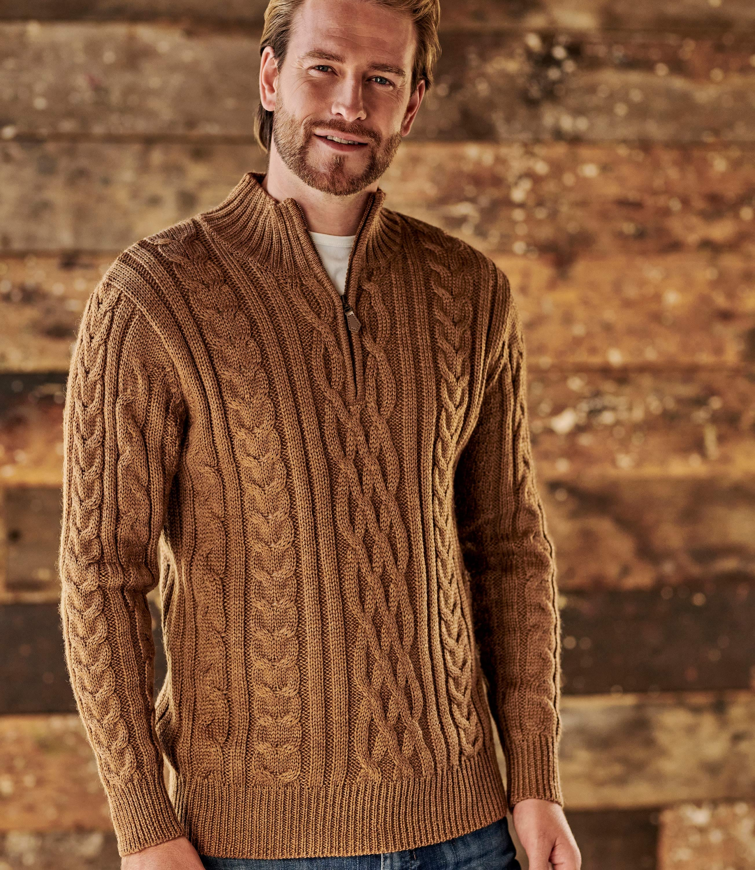 Pure Wool Knitted Aran Cable Zip Neck Sweater