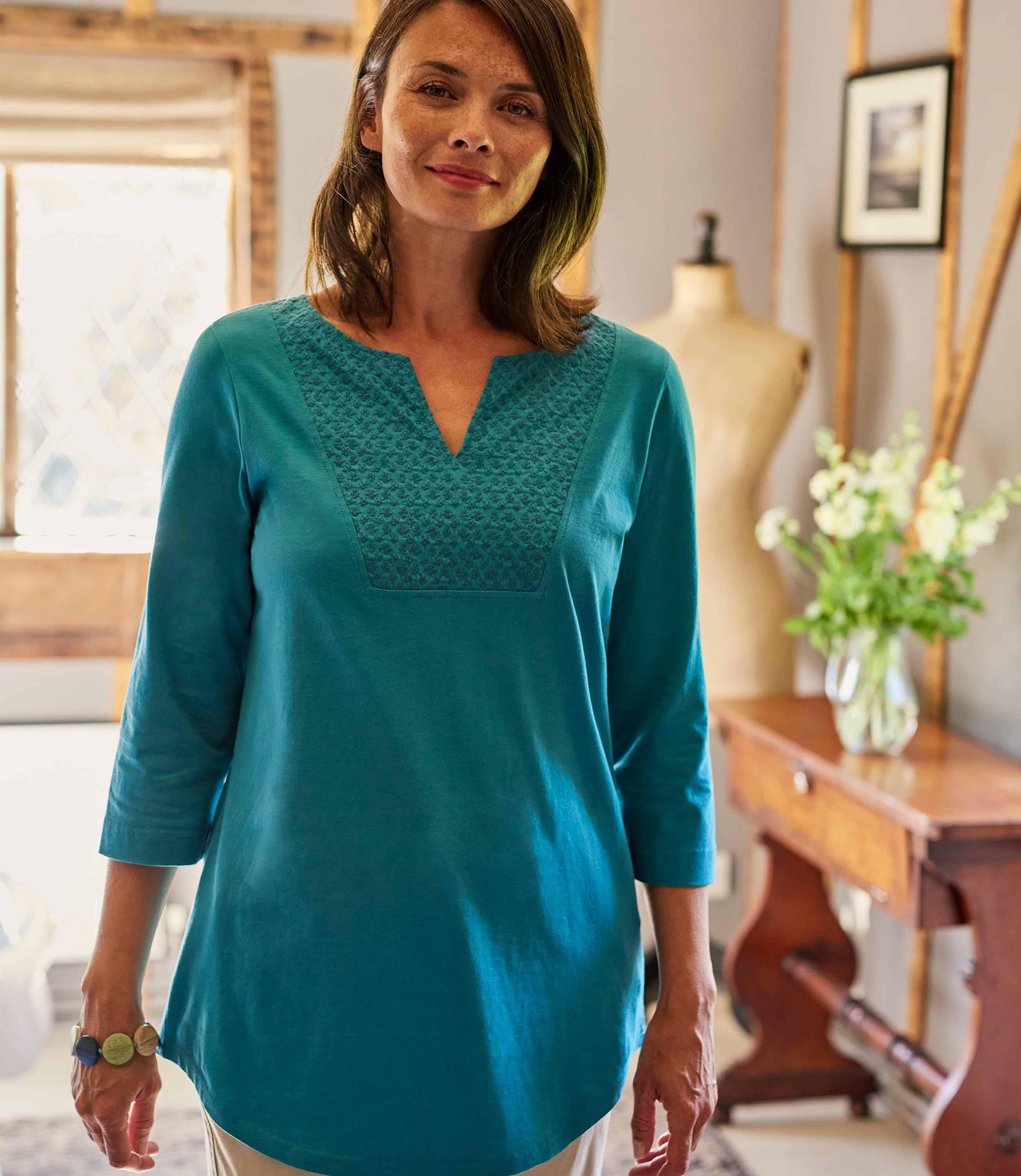 Womens Embroidered Bib Tunic