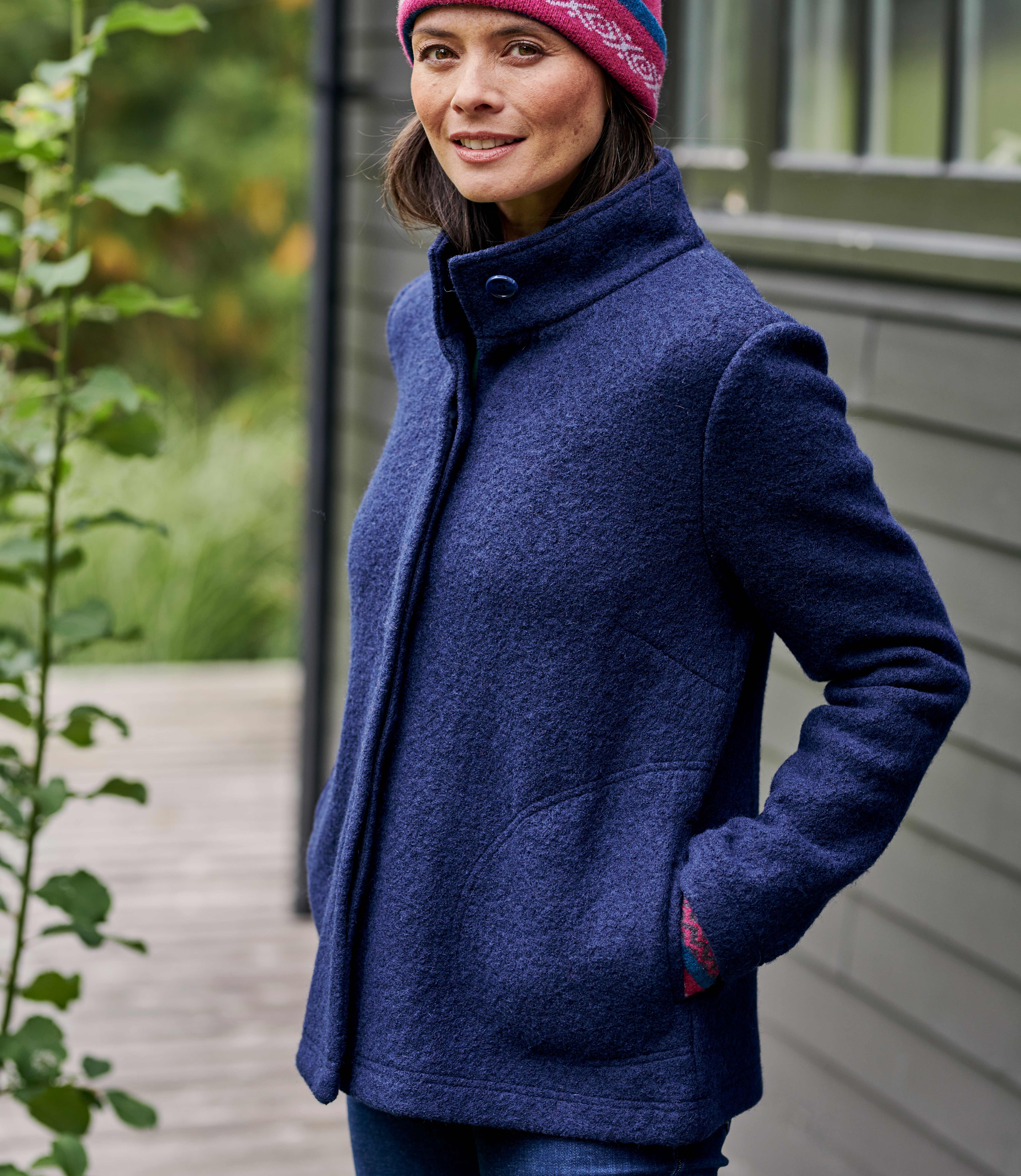 Womens Boiled Wool Short Coat