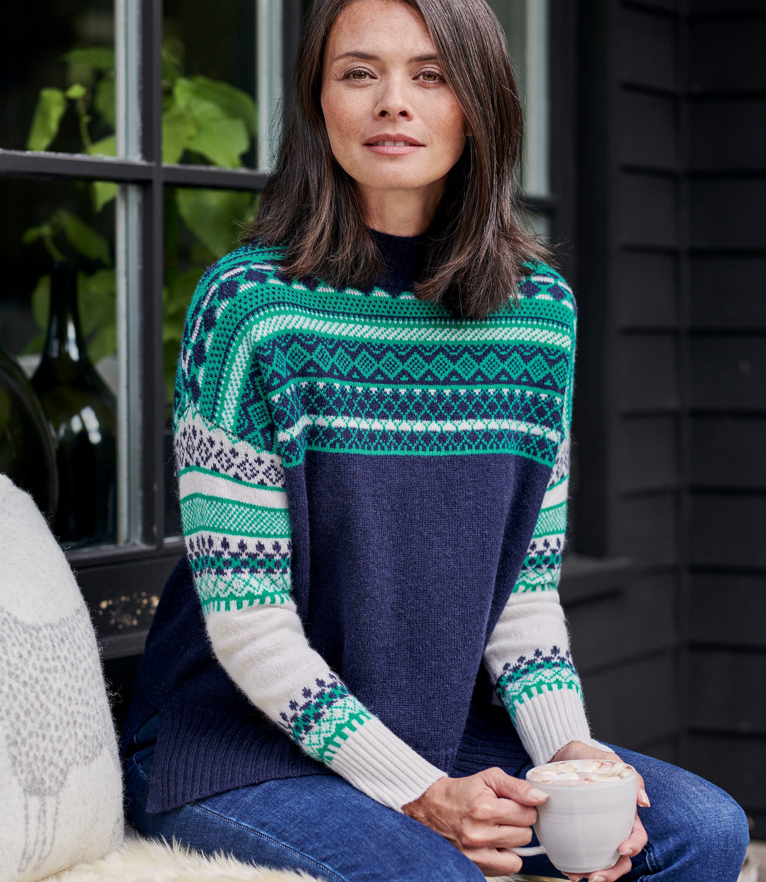Womens Reverse Color Fairisle Yoke Sweater