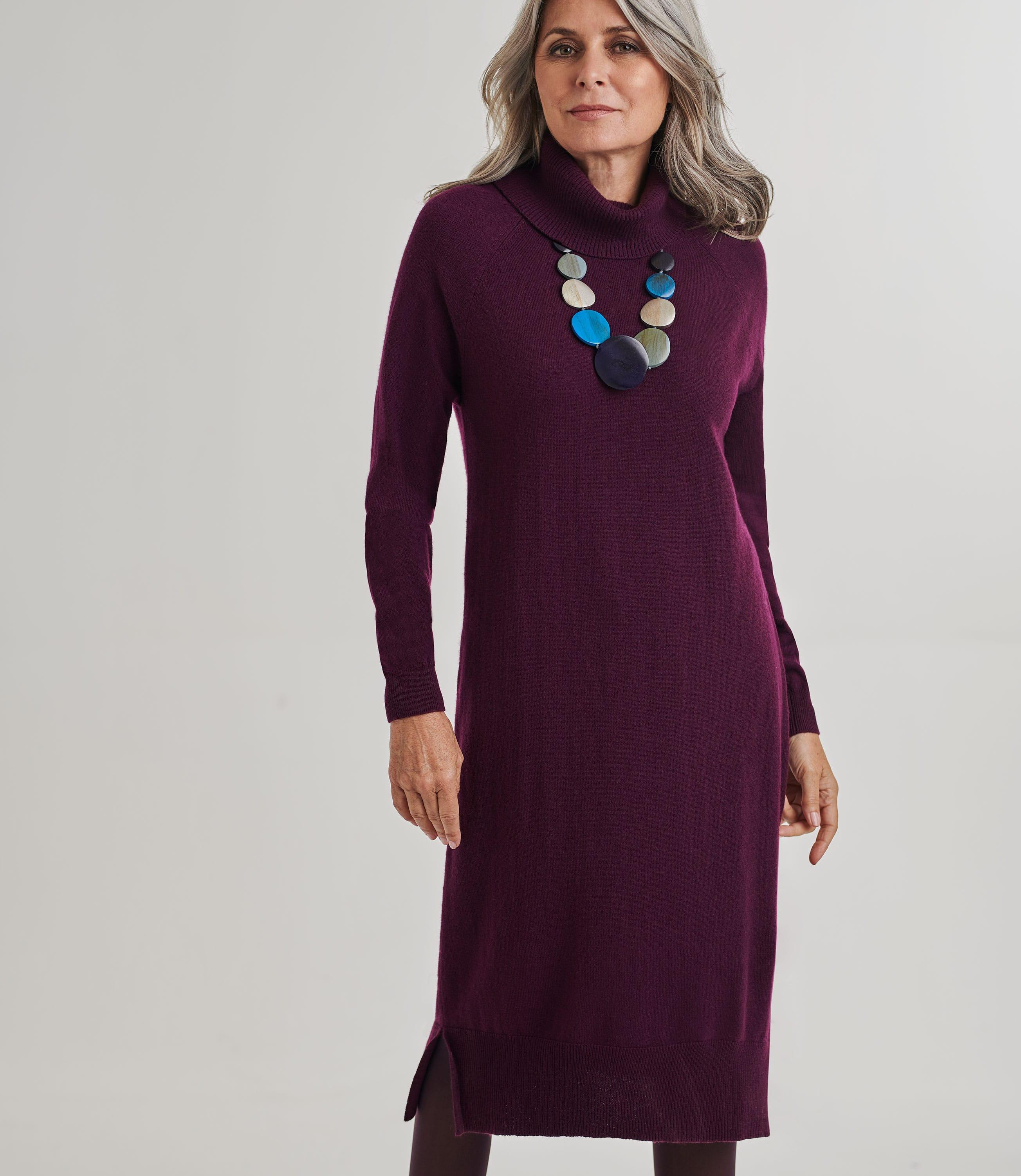 Womens Merino Roll Neck Jumper Dress