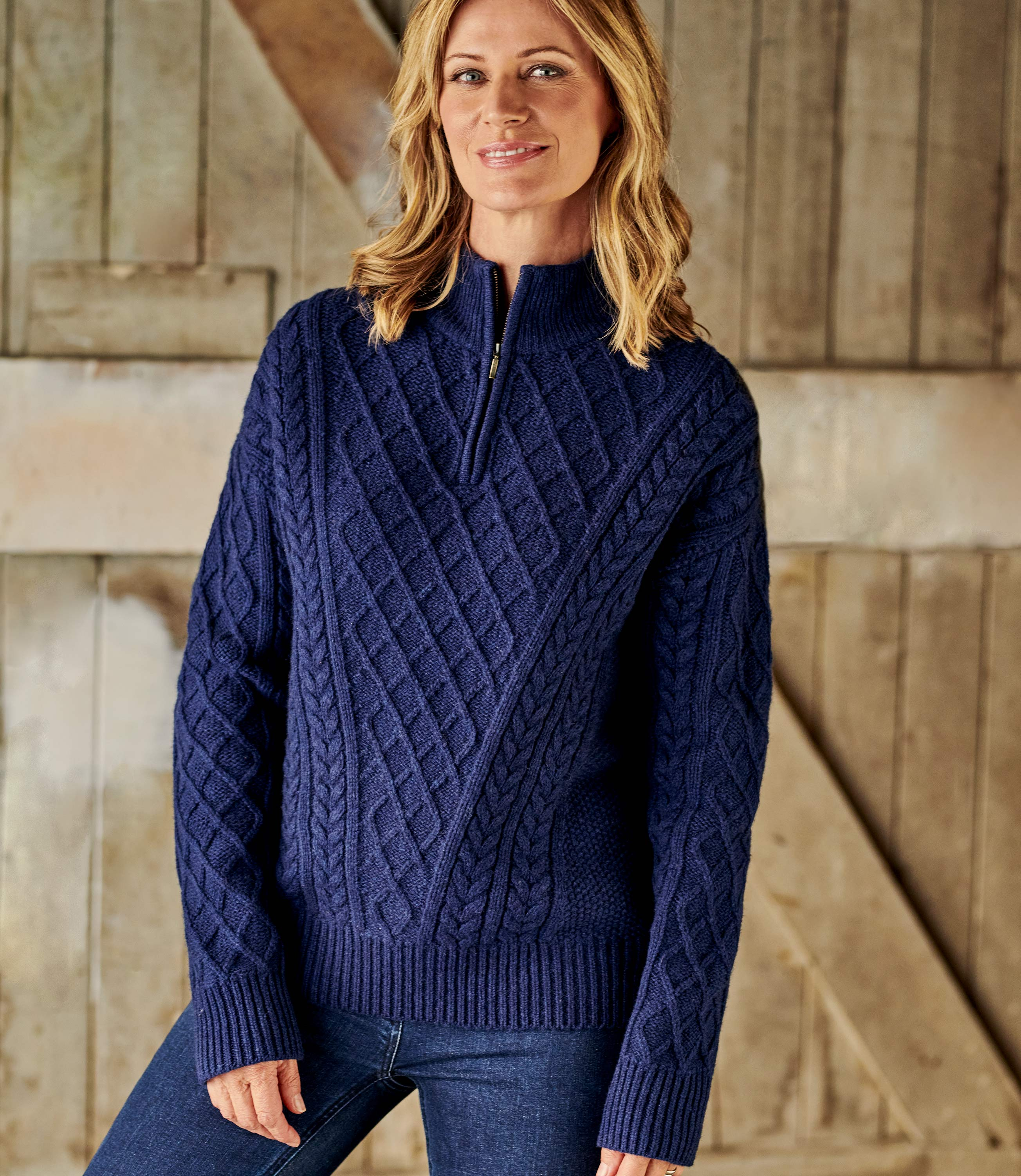 All Over Cable Half Zip Neck Jumper