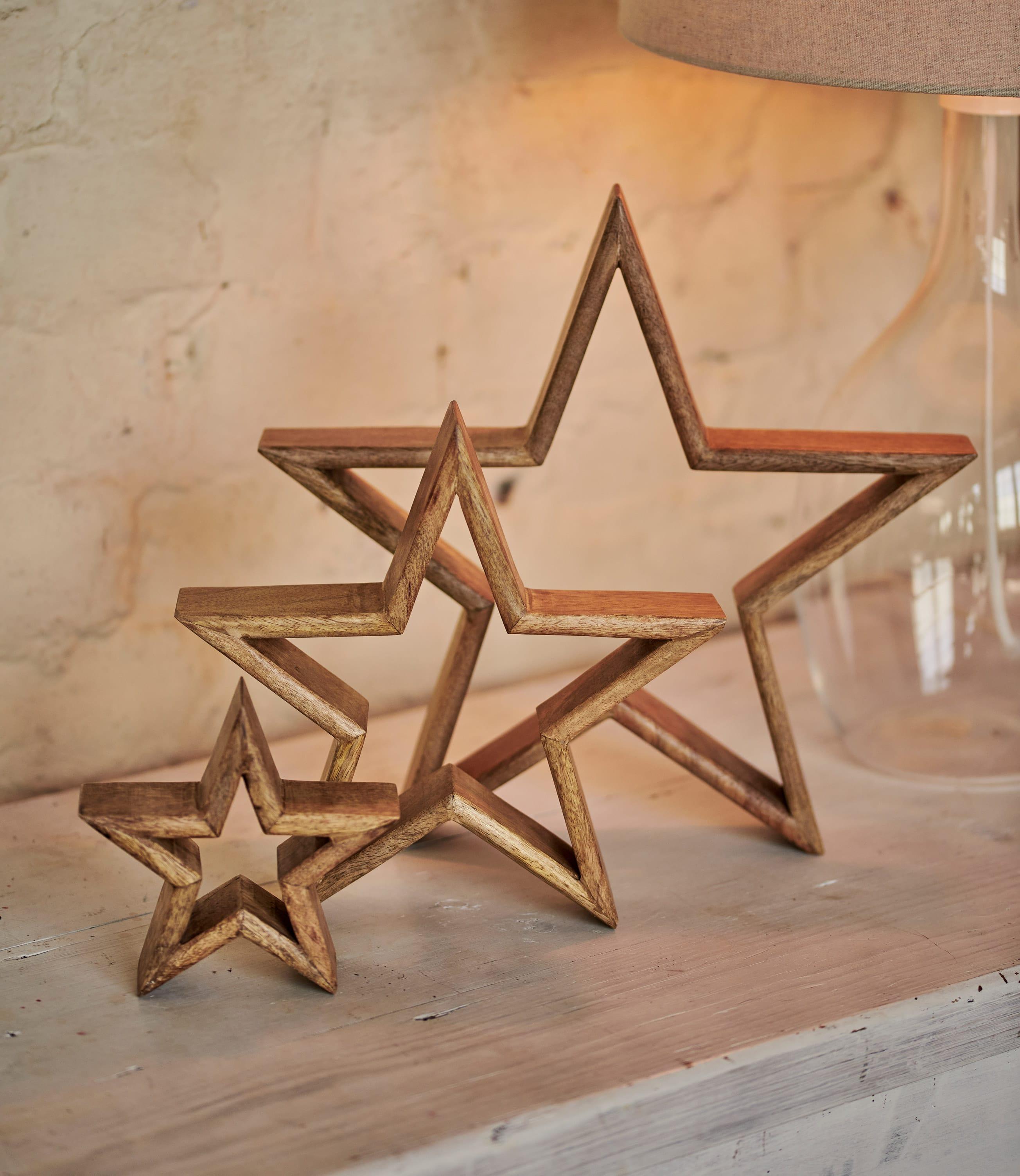 Lot de 3 étoiles décoratives - Maison - Bois
