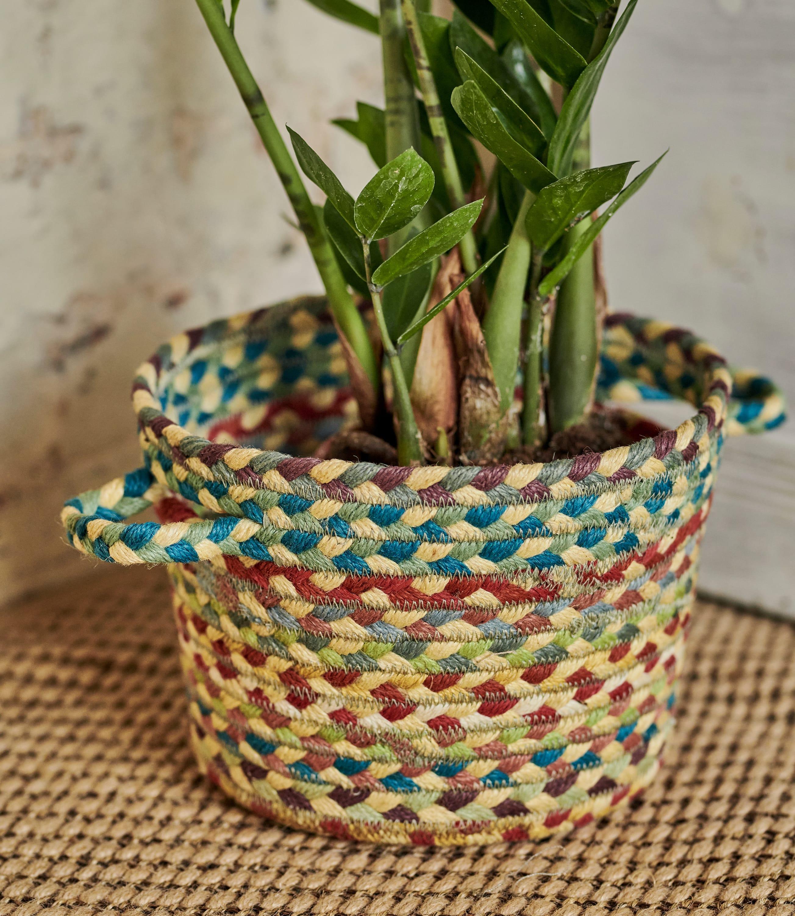 Panier multicolore (petit) - Maison - Jute