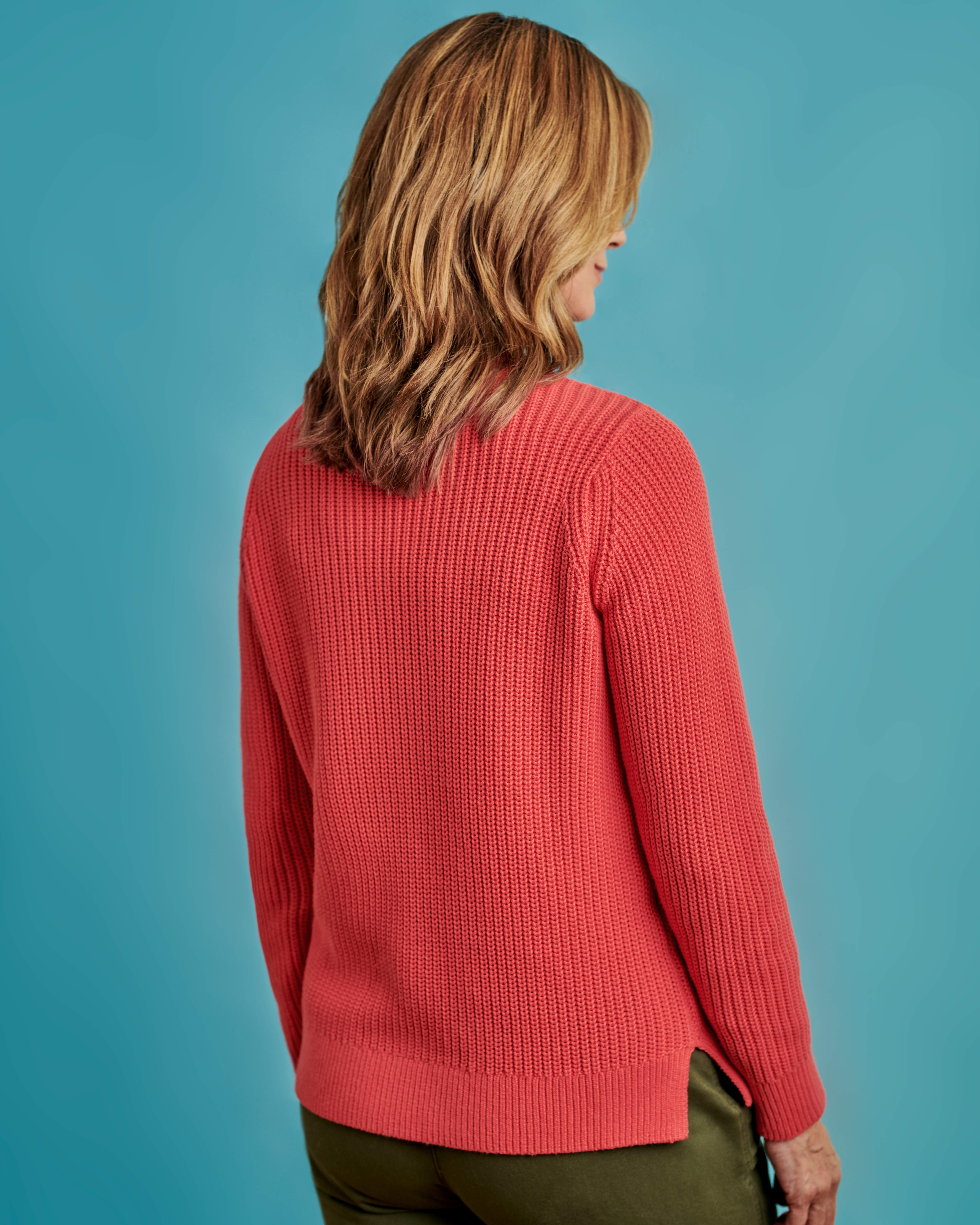 Crew Neck Jumper With Pointelle Detail