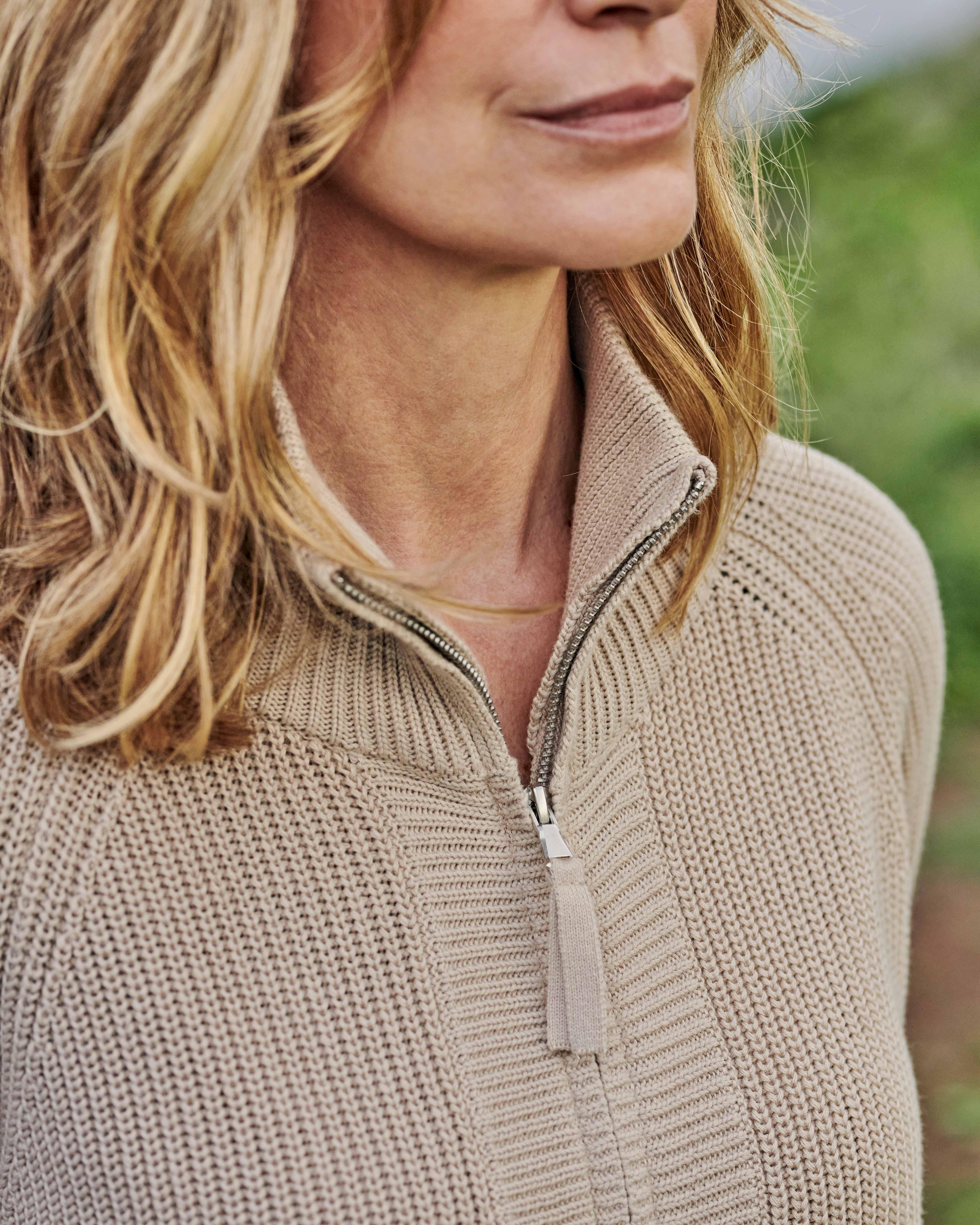 Cardigan à col zippé - Femme - Pur Coton