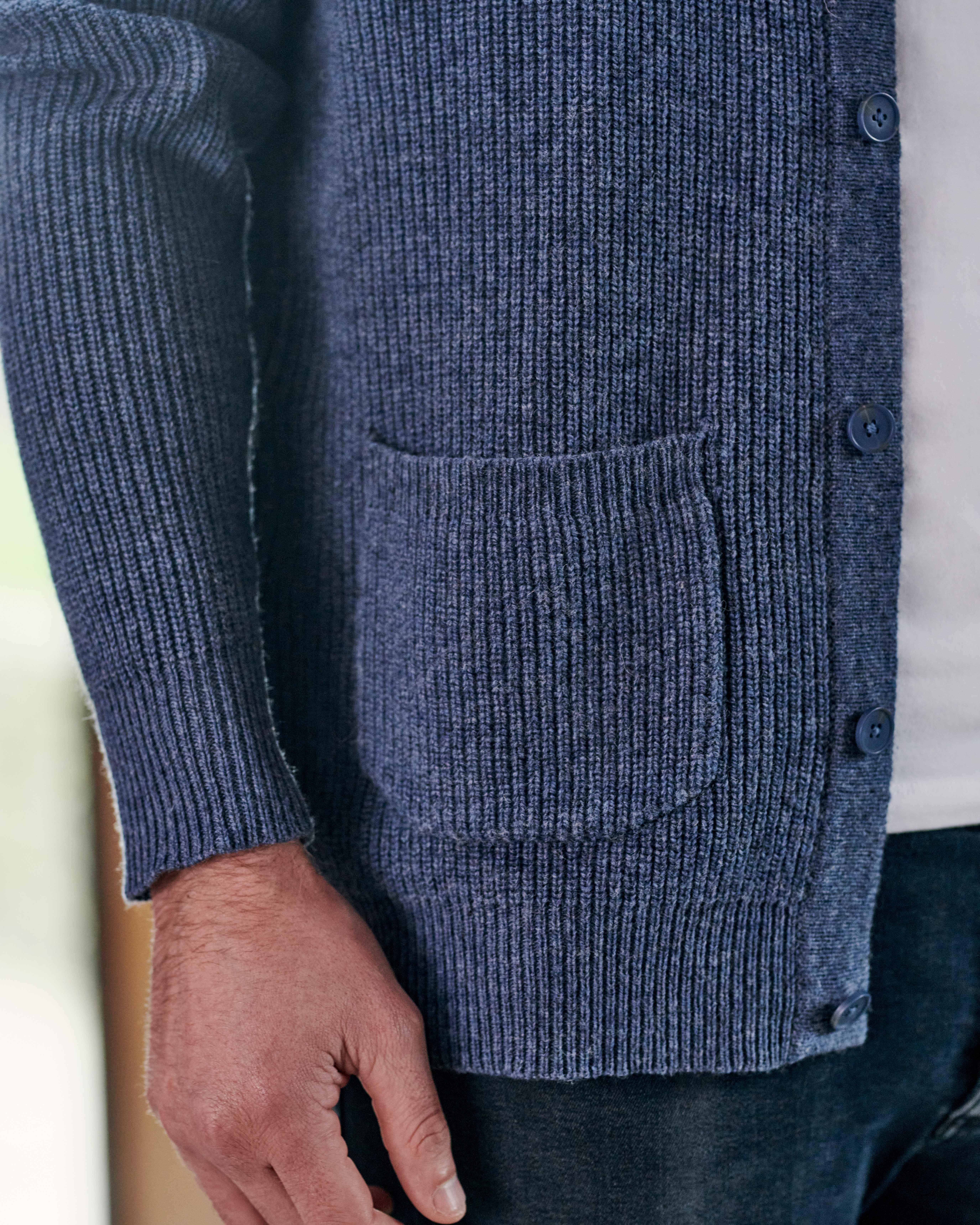 Funnel Neck Rib Button Cardigan