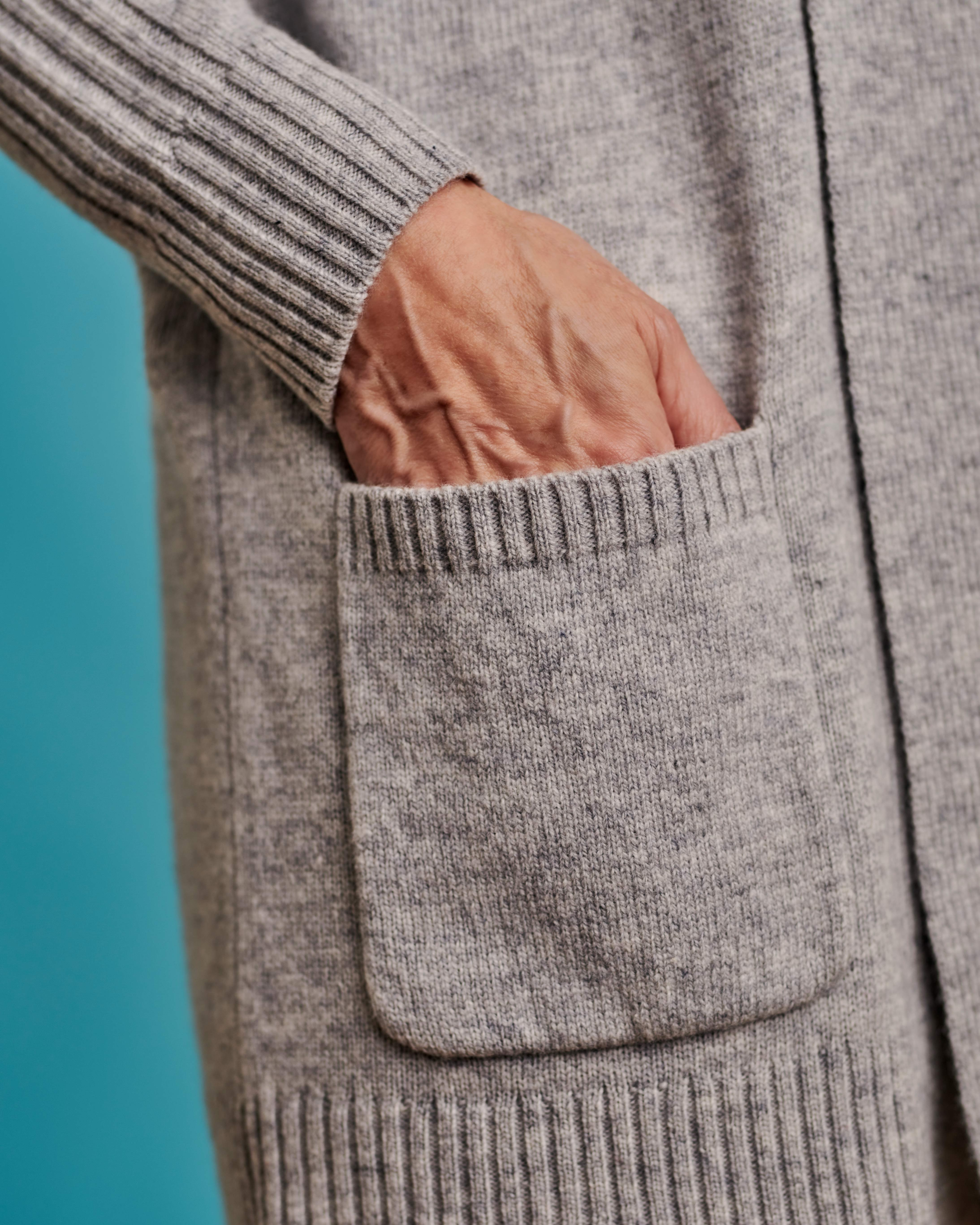 Shawl Collar Cardi With Rib Detail