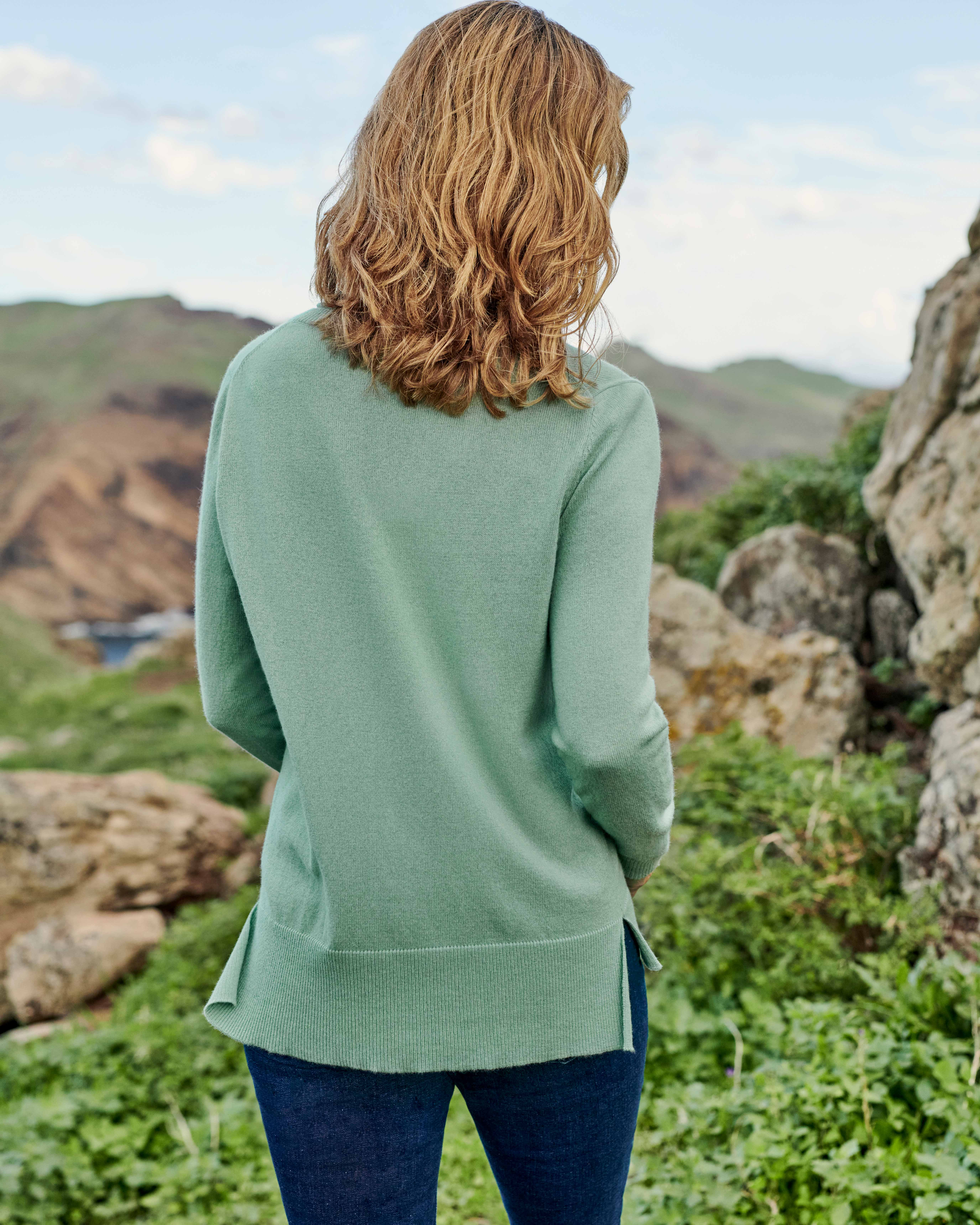 V Neck Sweater with Centre Front Seam Detail