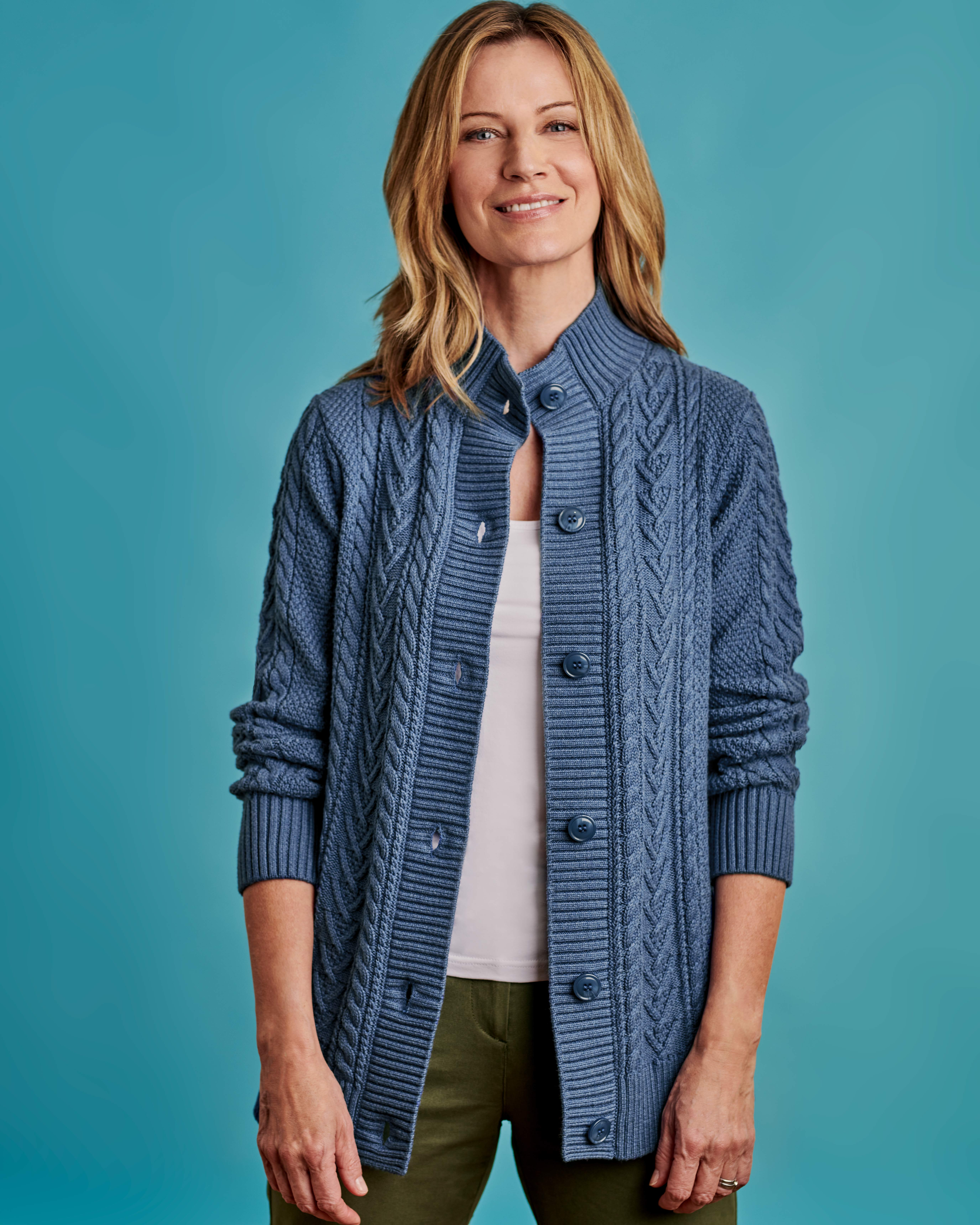 Cable High Neck Button Cardigan