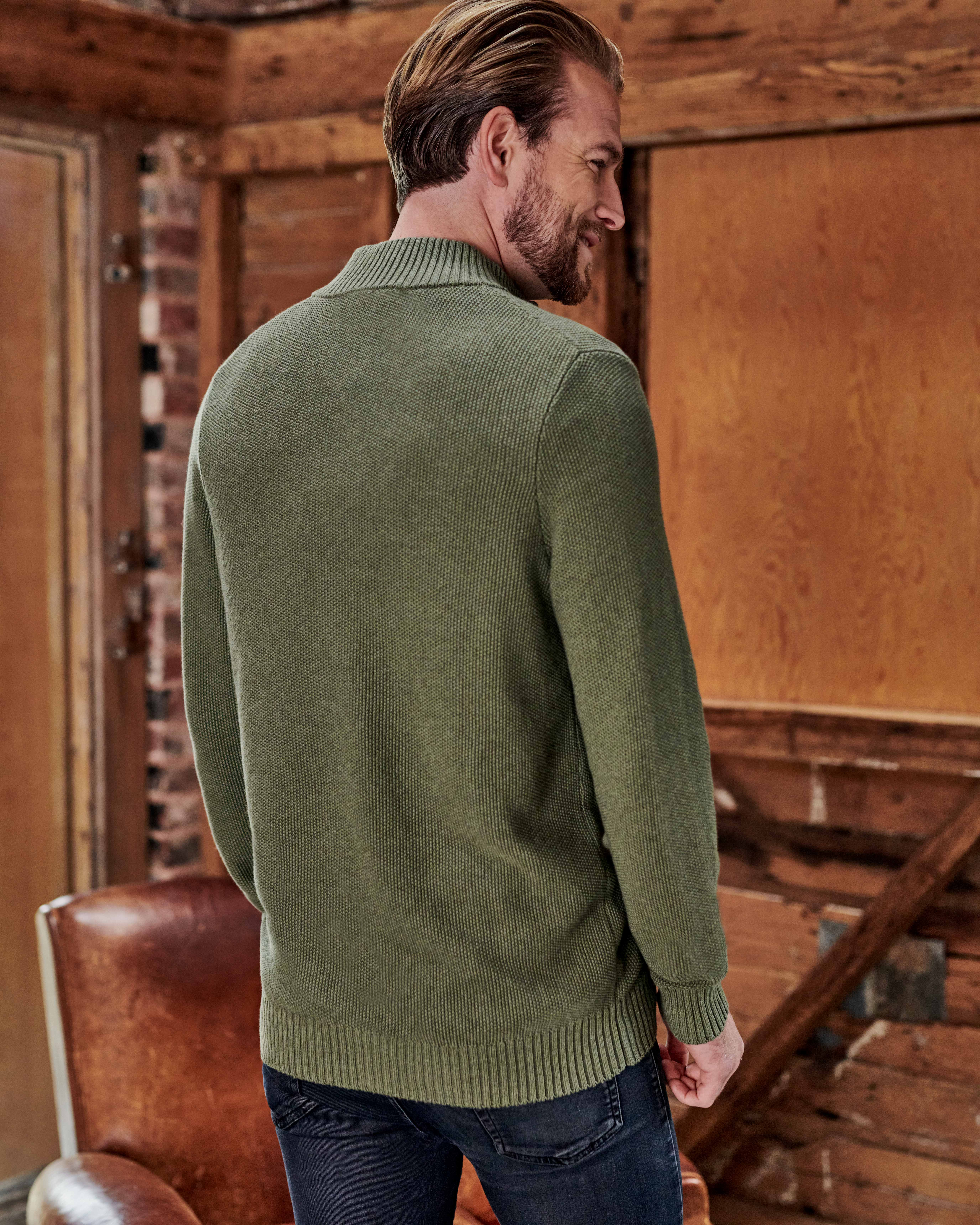 Organic Cotton Moss Stitch Zip Through