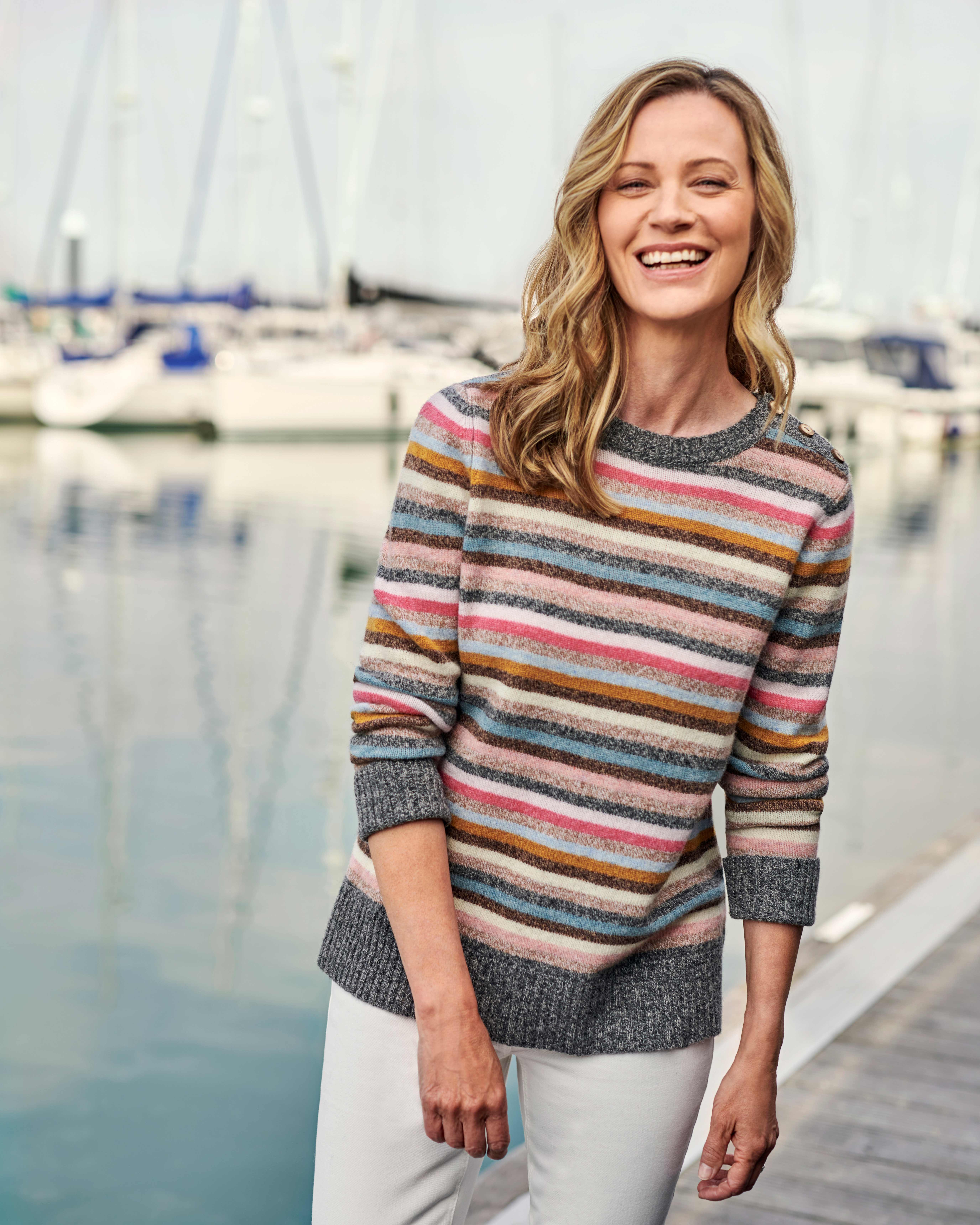 Side Button Marl Stripe Sweater