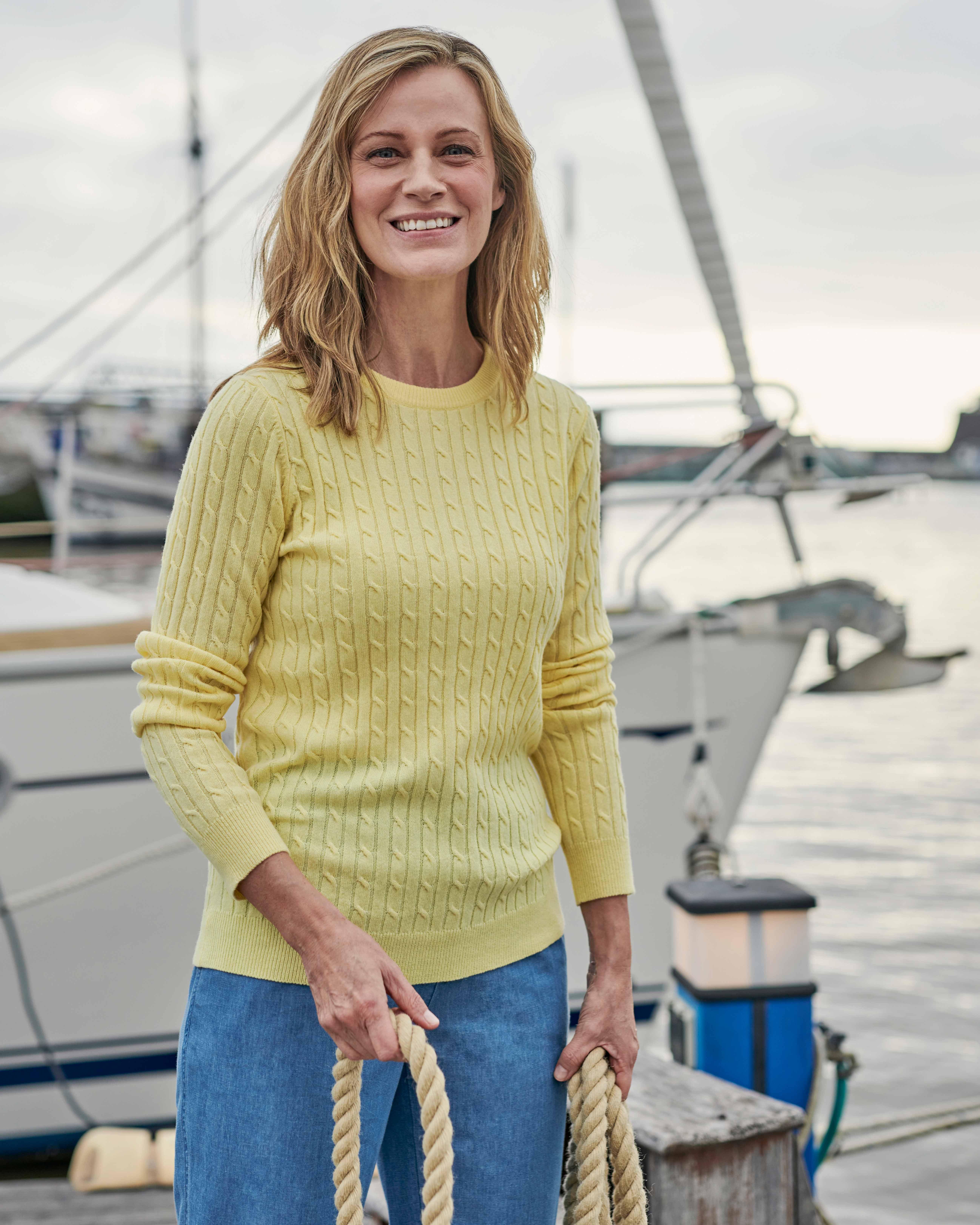 Cashmere Merino Cable Crew Neck Sweater