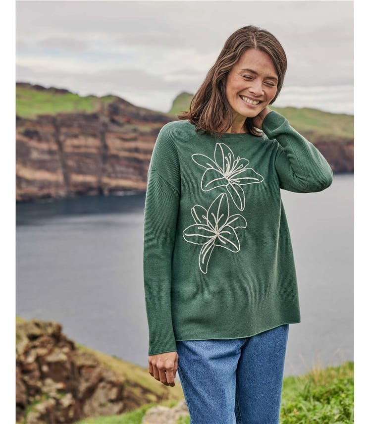 Embroidered Flower Jumper