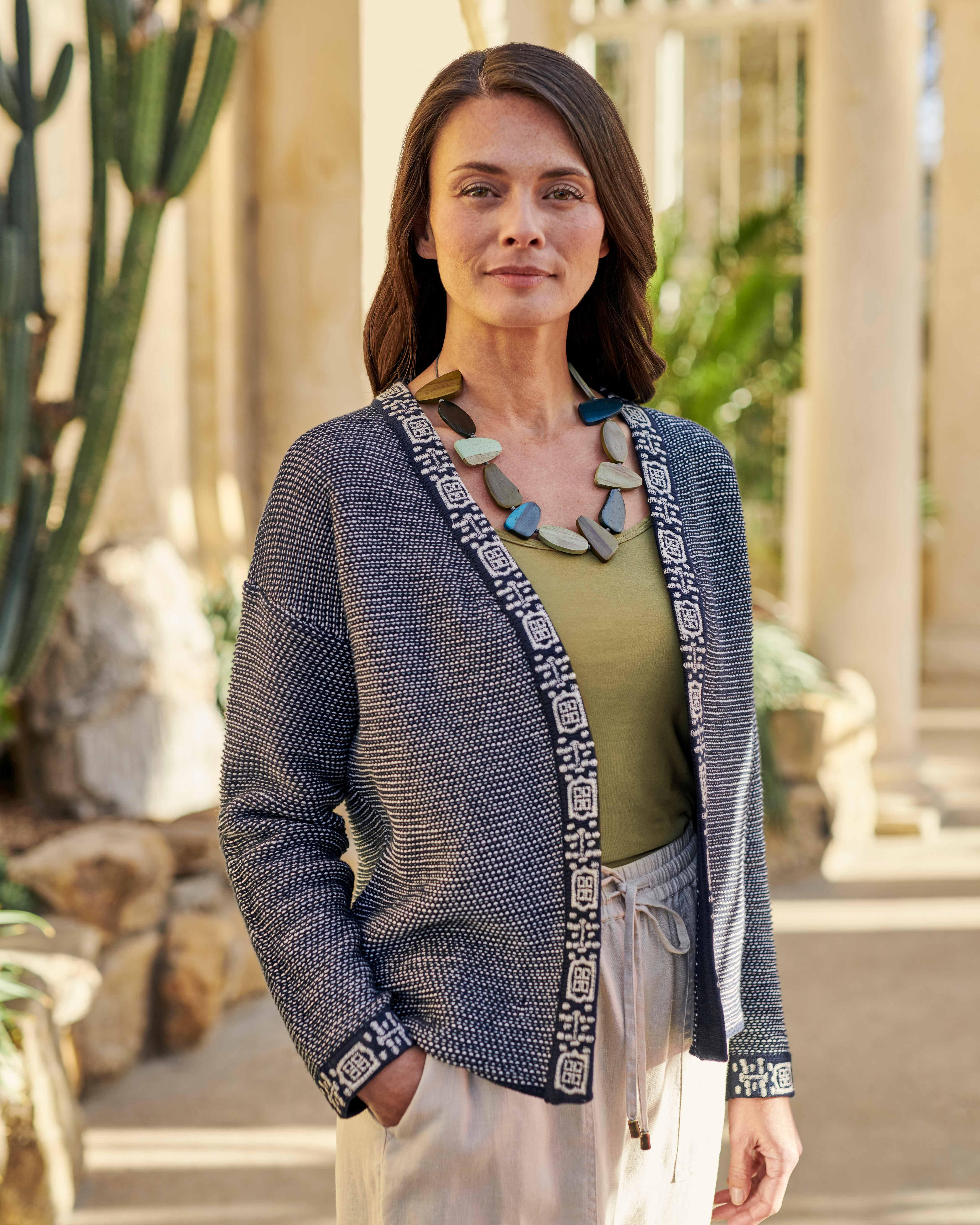 Organic Cotton Edge To Edge Embroidered Placket Cardigan