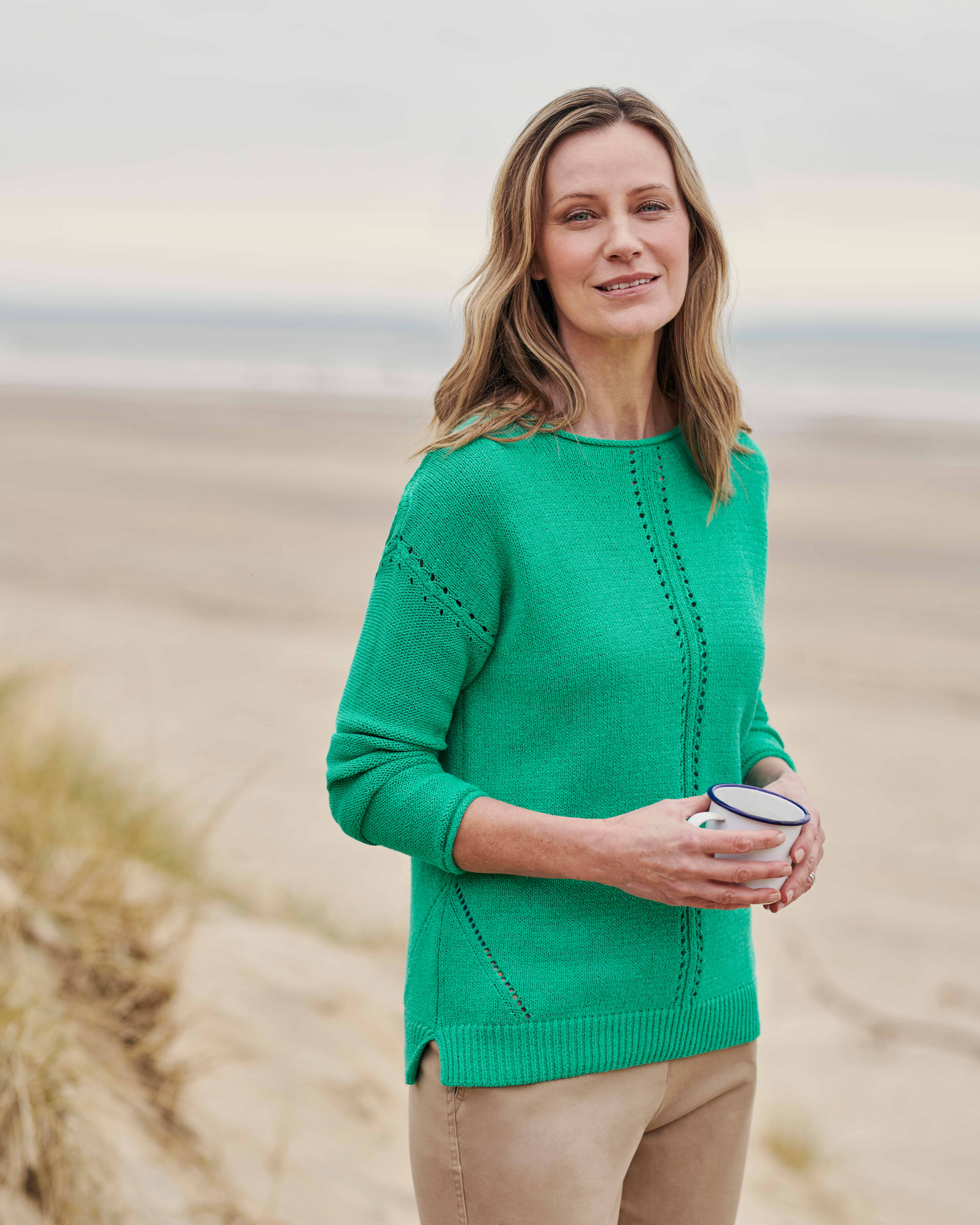 Boat Neck Jumper With Centre Front Detail