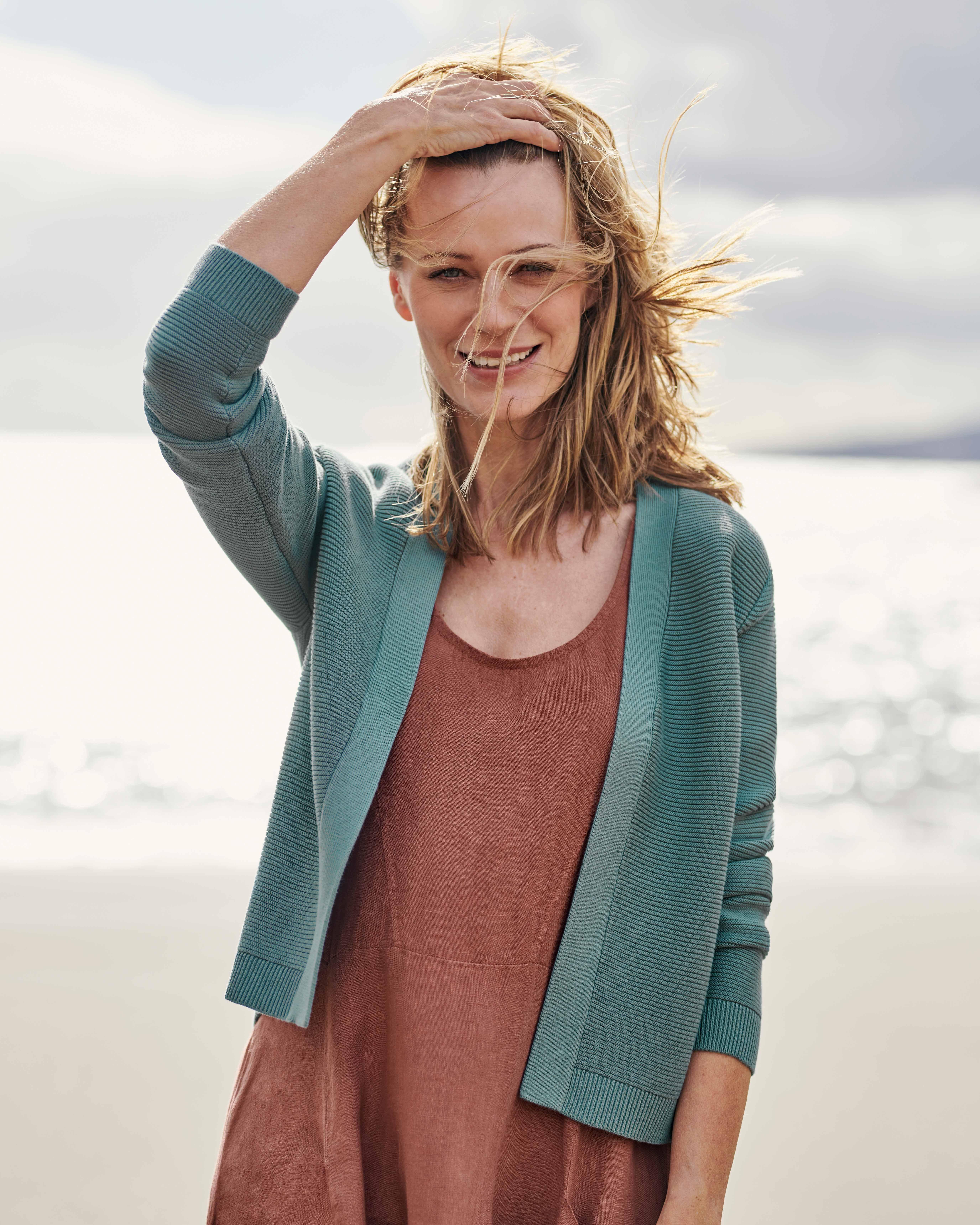 Cardigan court à maille texturée - Femme - Pur Coton